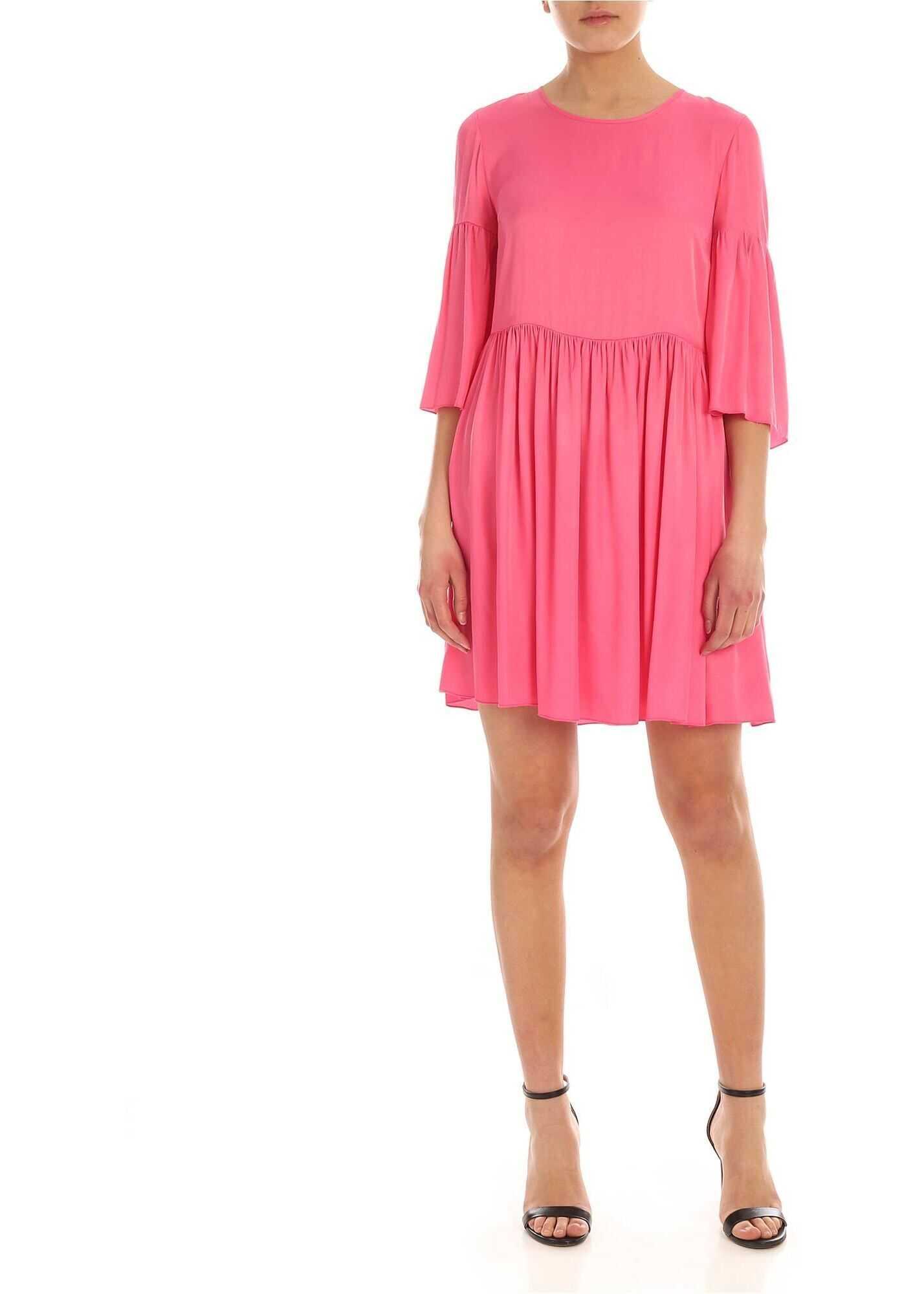 Be Blumarine Wide Sleeves Dress In Fuchsia Fuchsia