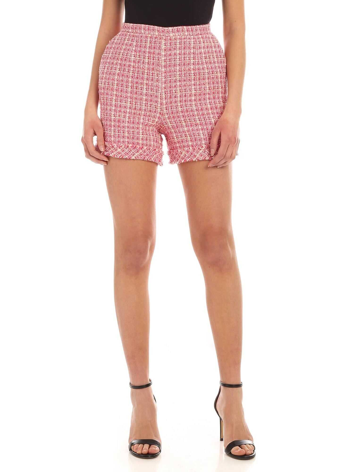 Be Blumarine Bouclè Shorts In White And Pink Pink