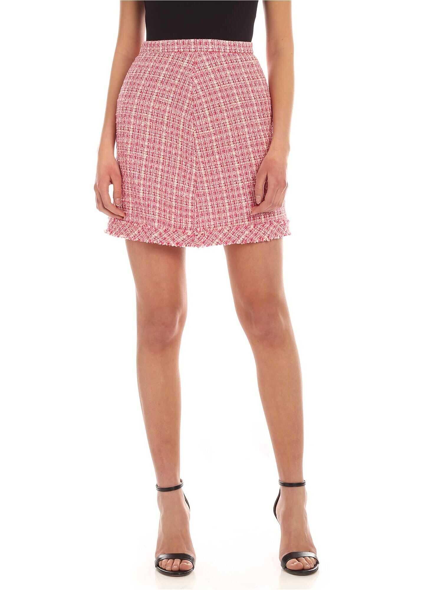 Be Blumarine Bouclè Short Skirt In Pink And White Pink