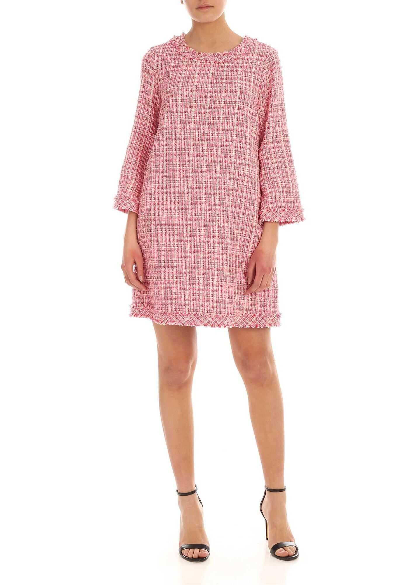 Be Blumarine Bouclè Dress In White And Pink Pink