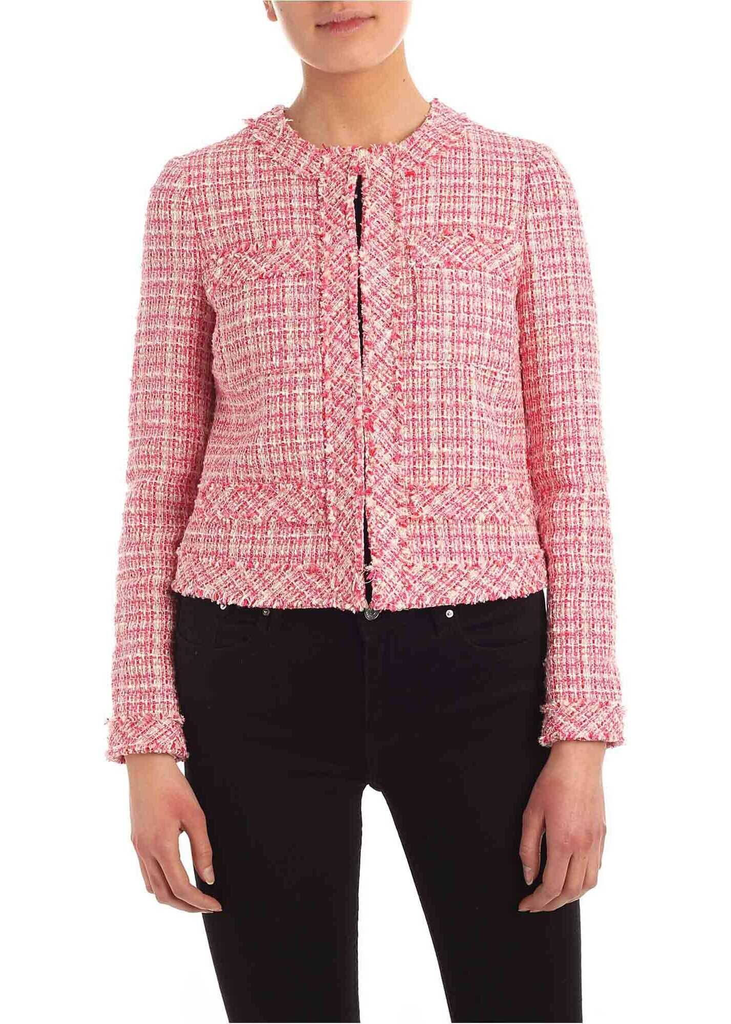 Be Blumarine Bouclè Jacket In Pink And White Pink