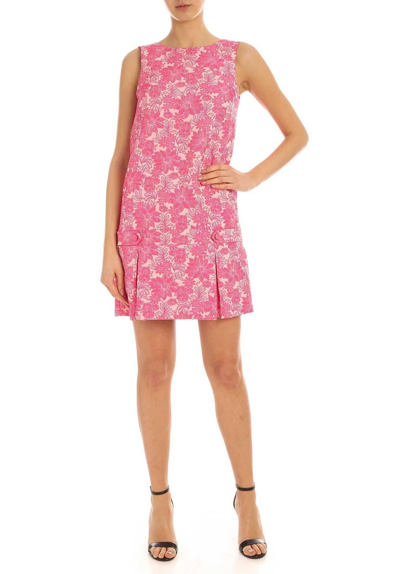 Be Blumarine Damask Pattern Dress In Pink Pink