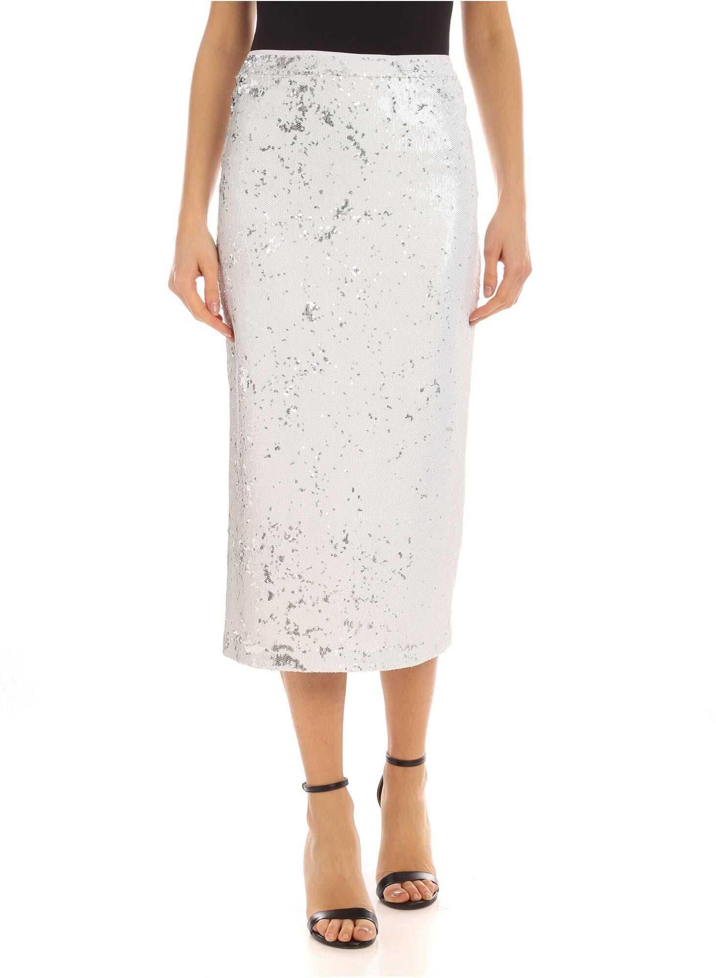 Be Blumarine Writing Sequins Pencil Skirt White