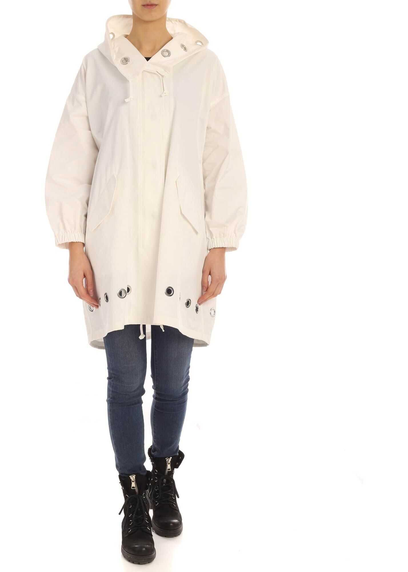 Metal Eyelets Parka In White thumbnail