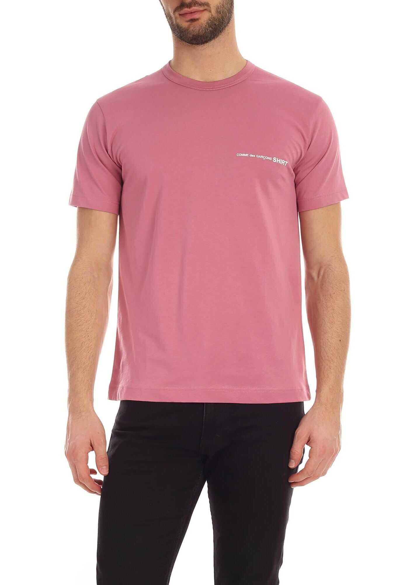 Comme des Garçons Logo Print T-Shirt In Pink Pink