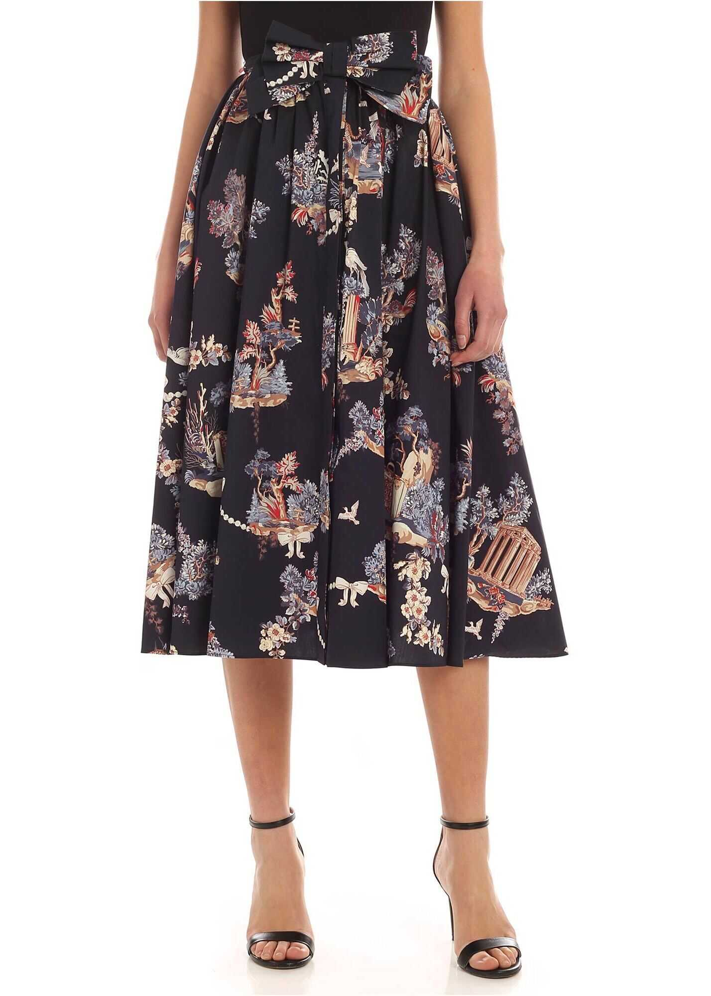Vivetta Multicolor Print Skirt In Midnight Blue Blue