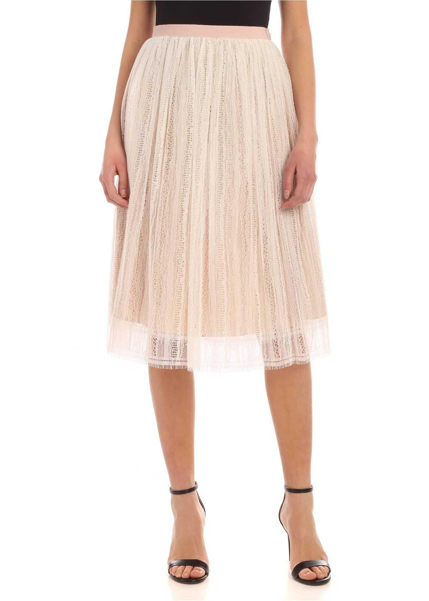 Rebrodè Lace Midi Skirt In White thumbnail
