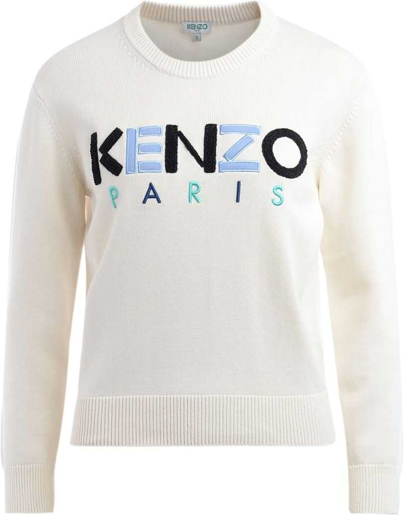 Kenzo Paris Sweater In Ecru Cotton With Logo Beige