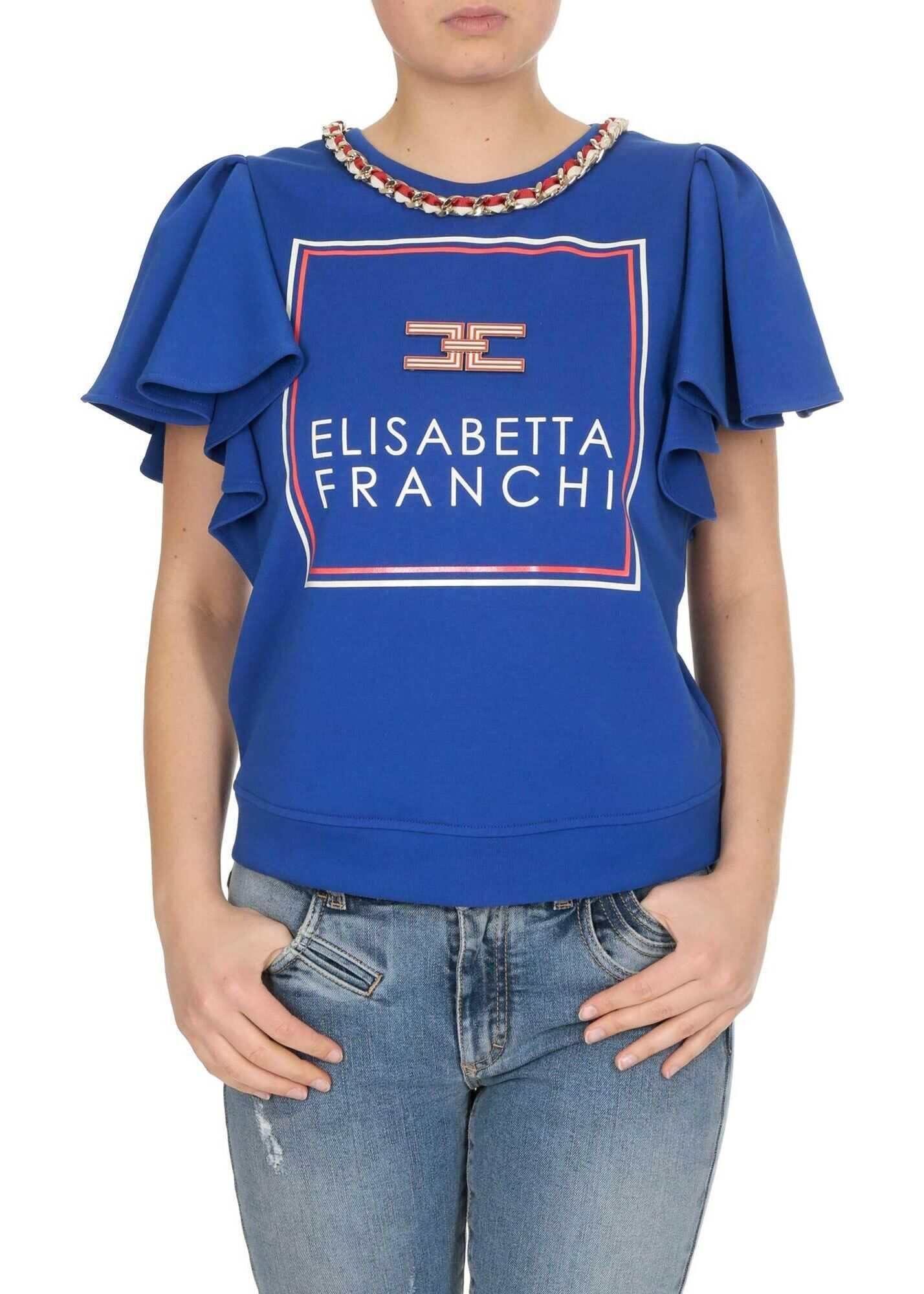 Elisabetta Franchi Sweater In Cobalt Blue With Flounces Blue