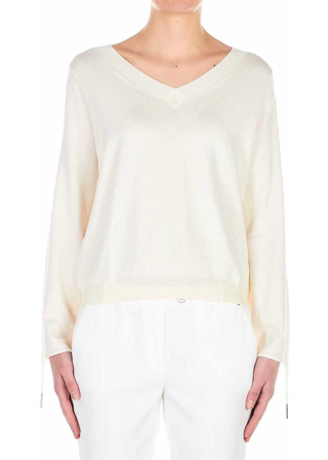 Liu Jo Knitted sweater with V-neck White