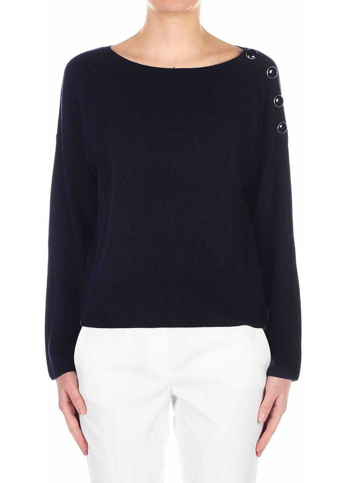 Liu Jo Cotton-blend sweater with button detail Blue