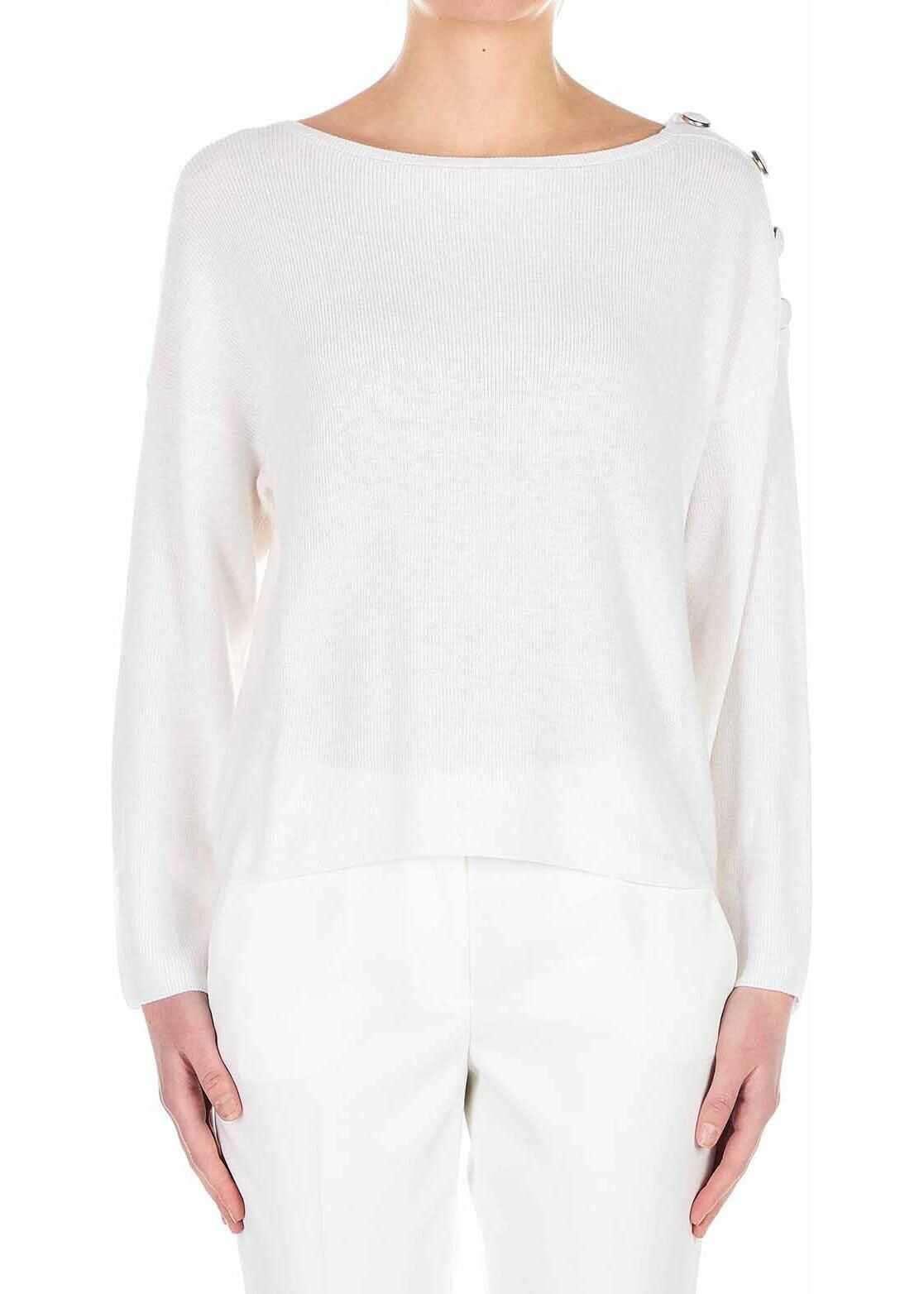 Liu Jo Cotton-blend sweater with button detail White
