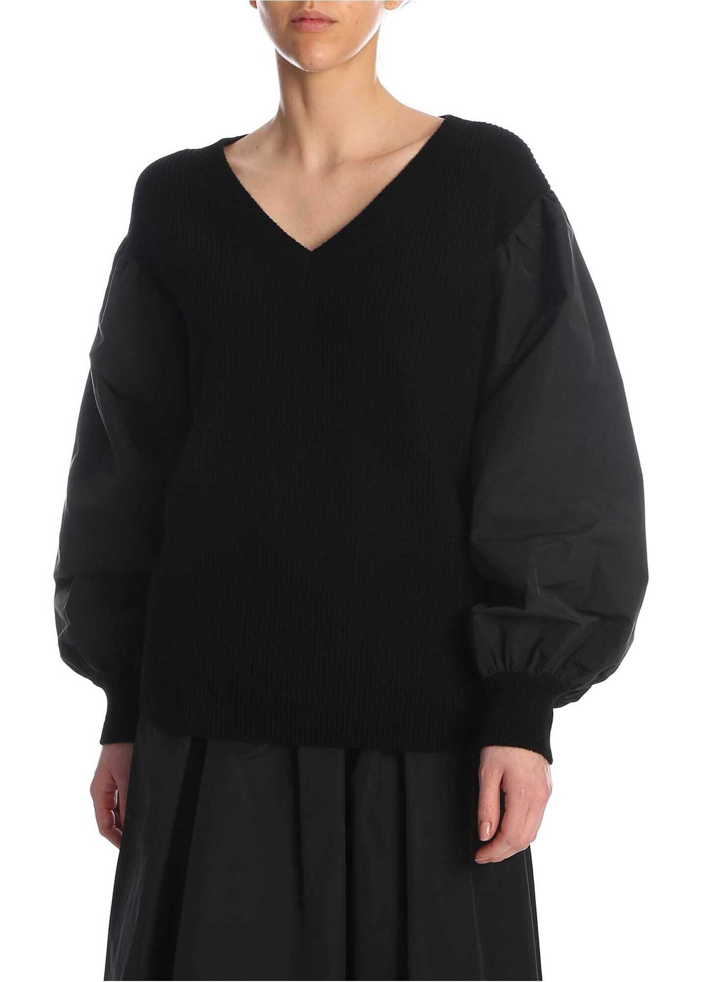 Valentino Garavani Balloon Sleeves Sweater In Black Black