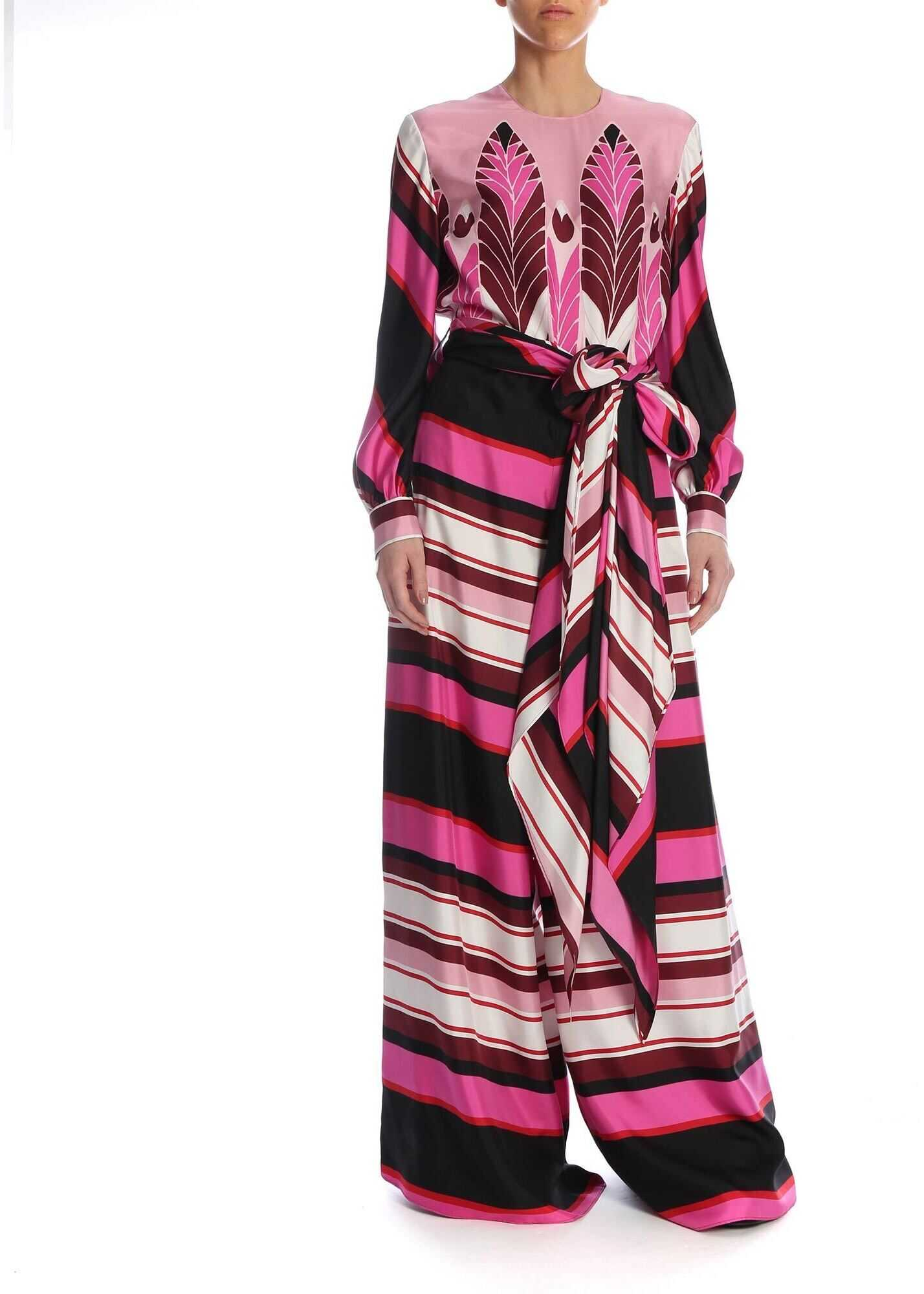 Pop Feathers Baiadera Print Jumpsuit In Fuchsia thumbnail