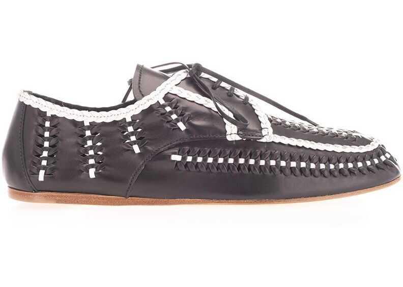 Prada Leather Lace-Up Shoes BLACK
