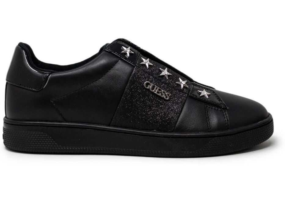 GUESS Faux Leather Slip On Sneakers BLACK