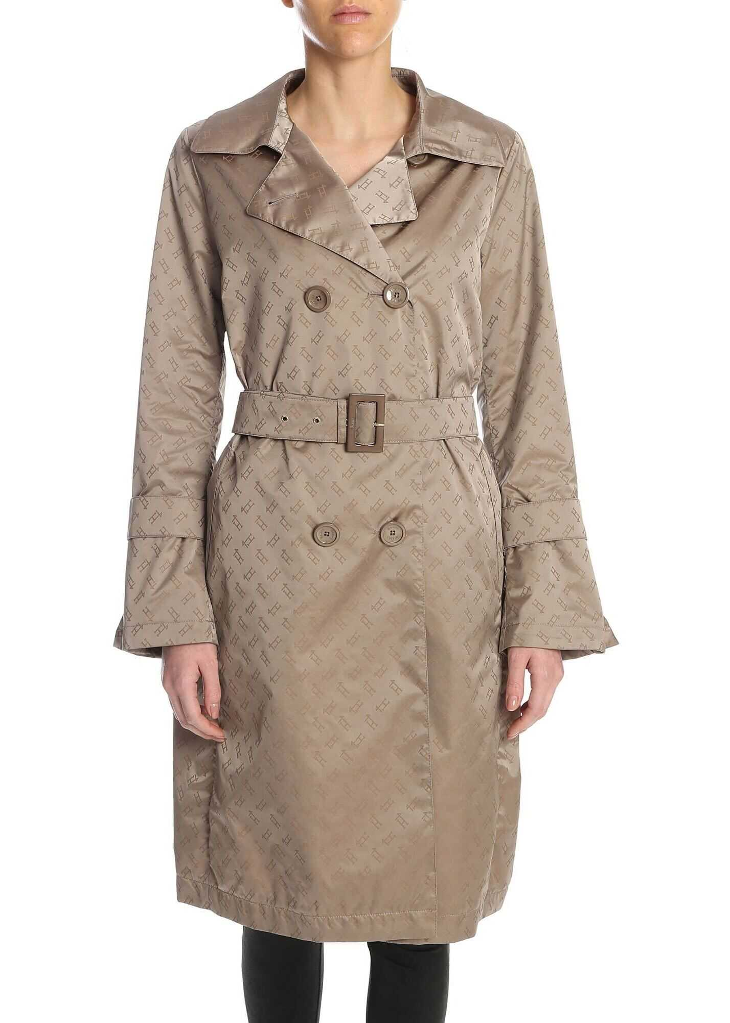 All Over Logo Trench Coat In Beige thumbnail