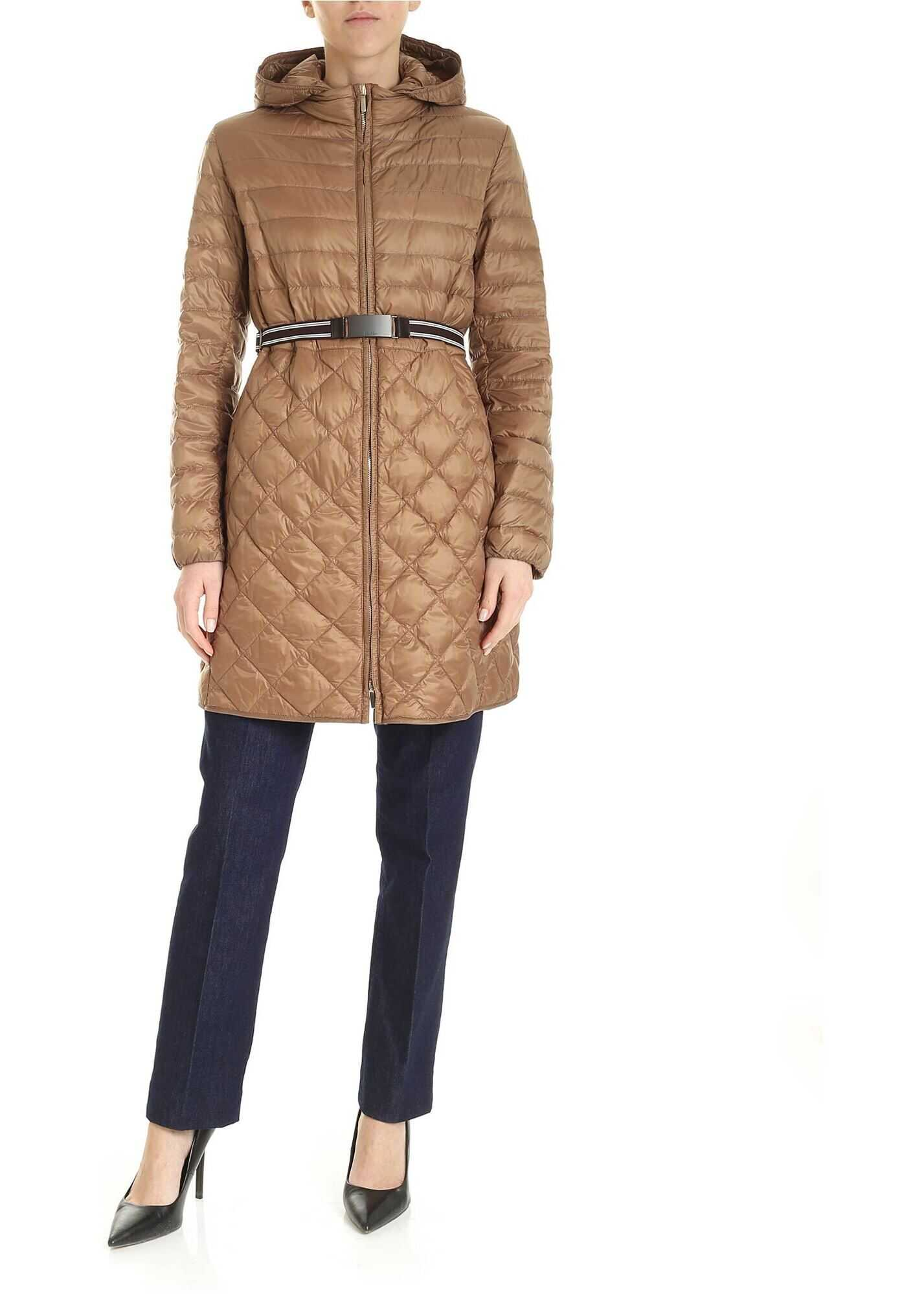Max Mara The Cube Etrevi Down Jacket In Brown Brown