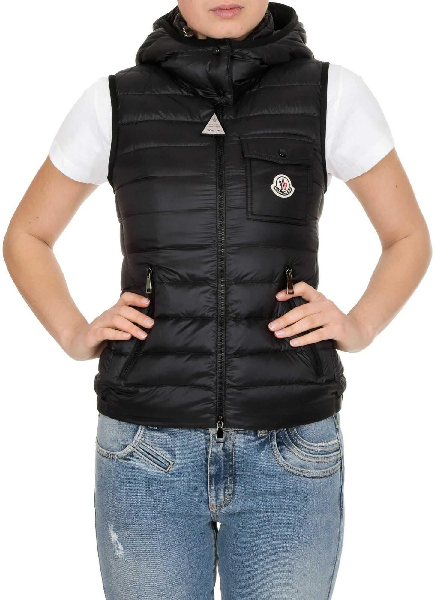 Moncler Glycine Sleeveless Down Jacket In Black Black