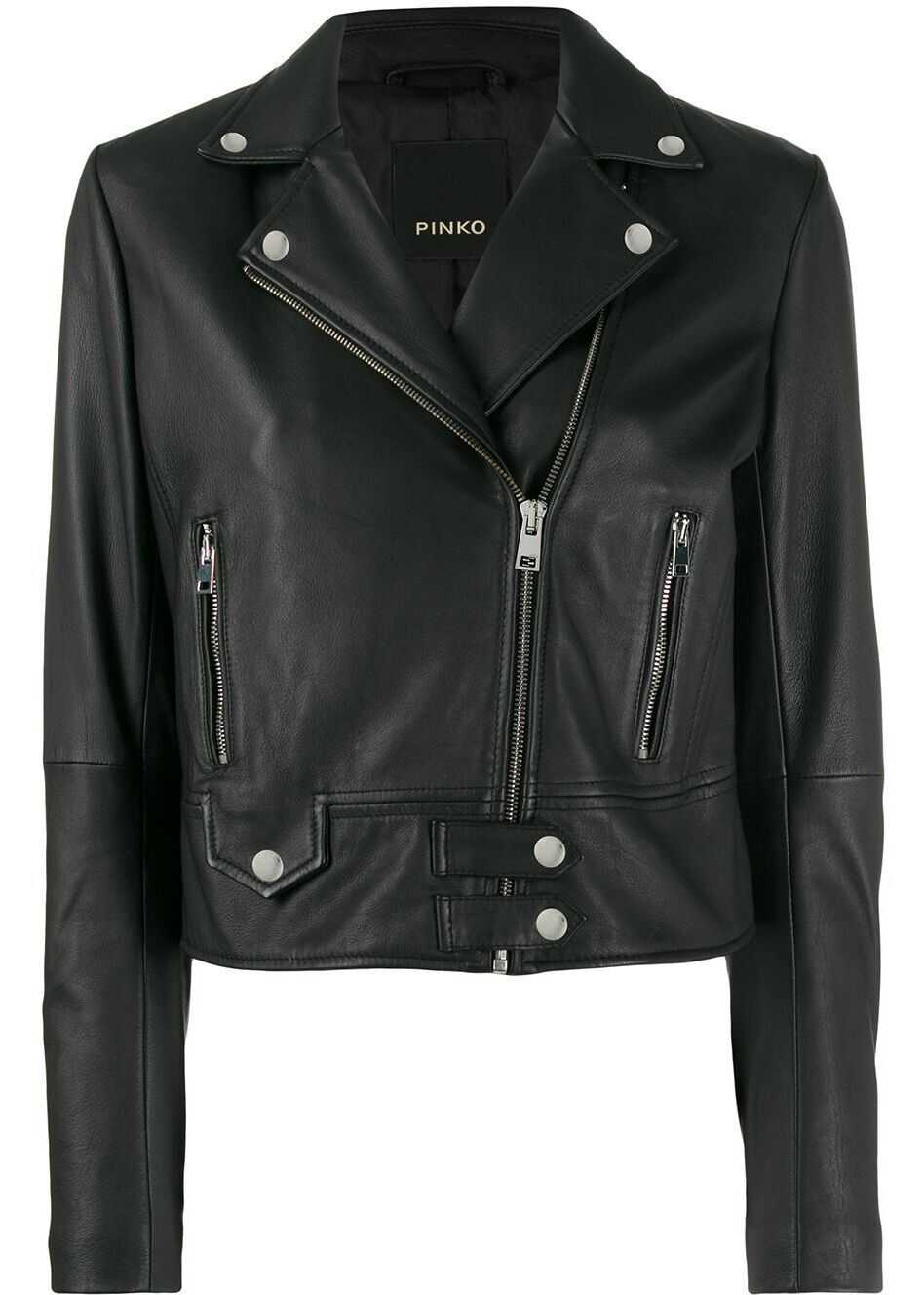 Pinko Leather Outerwear Jacket BLACK