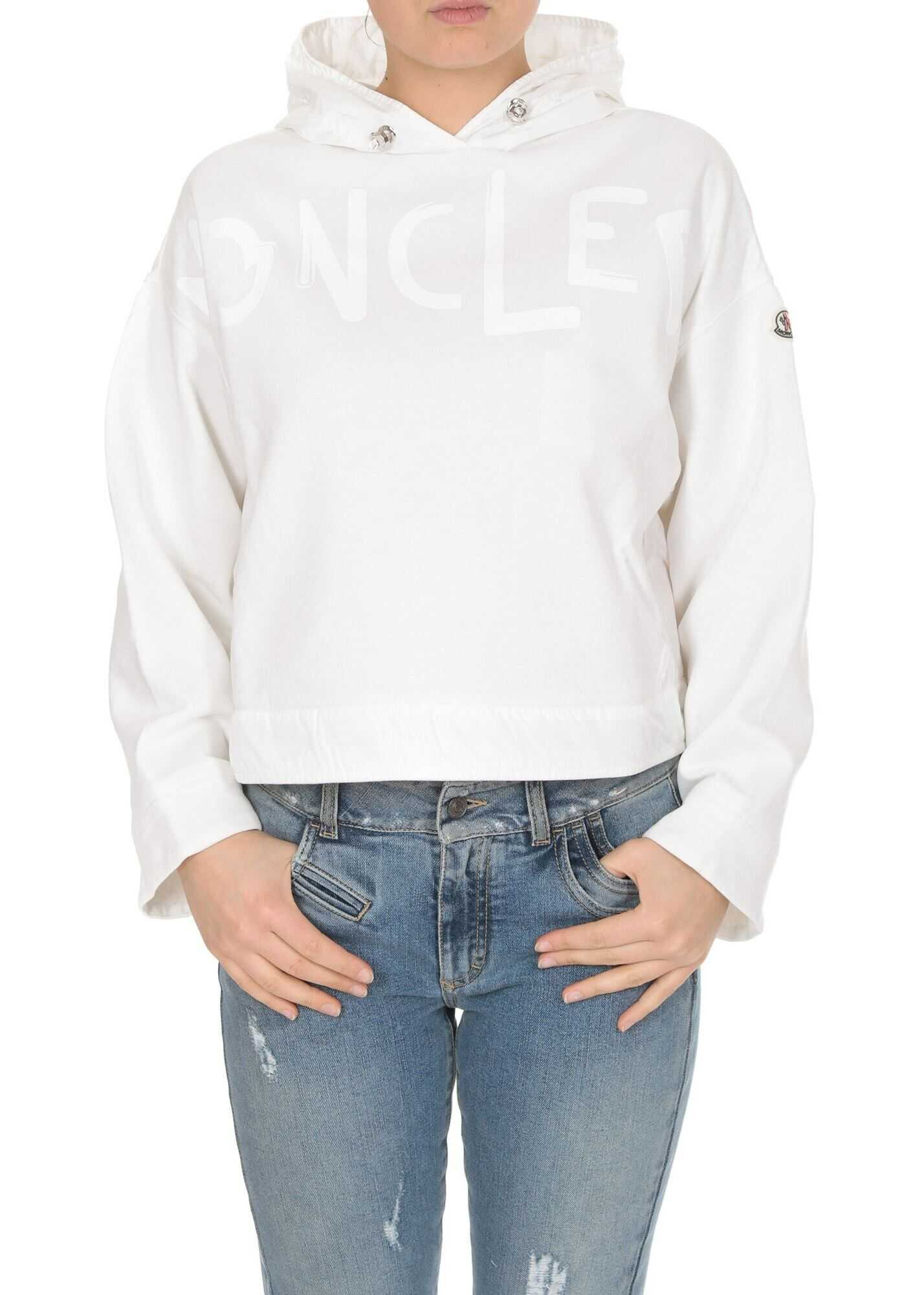 Moncler Boxy Fit Hoodie In White White