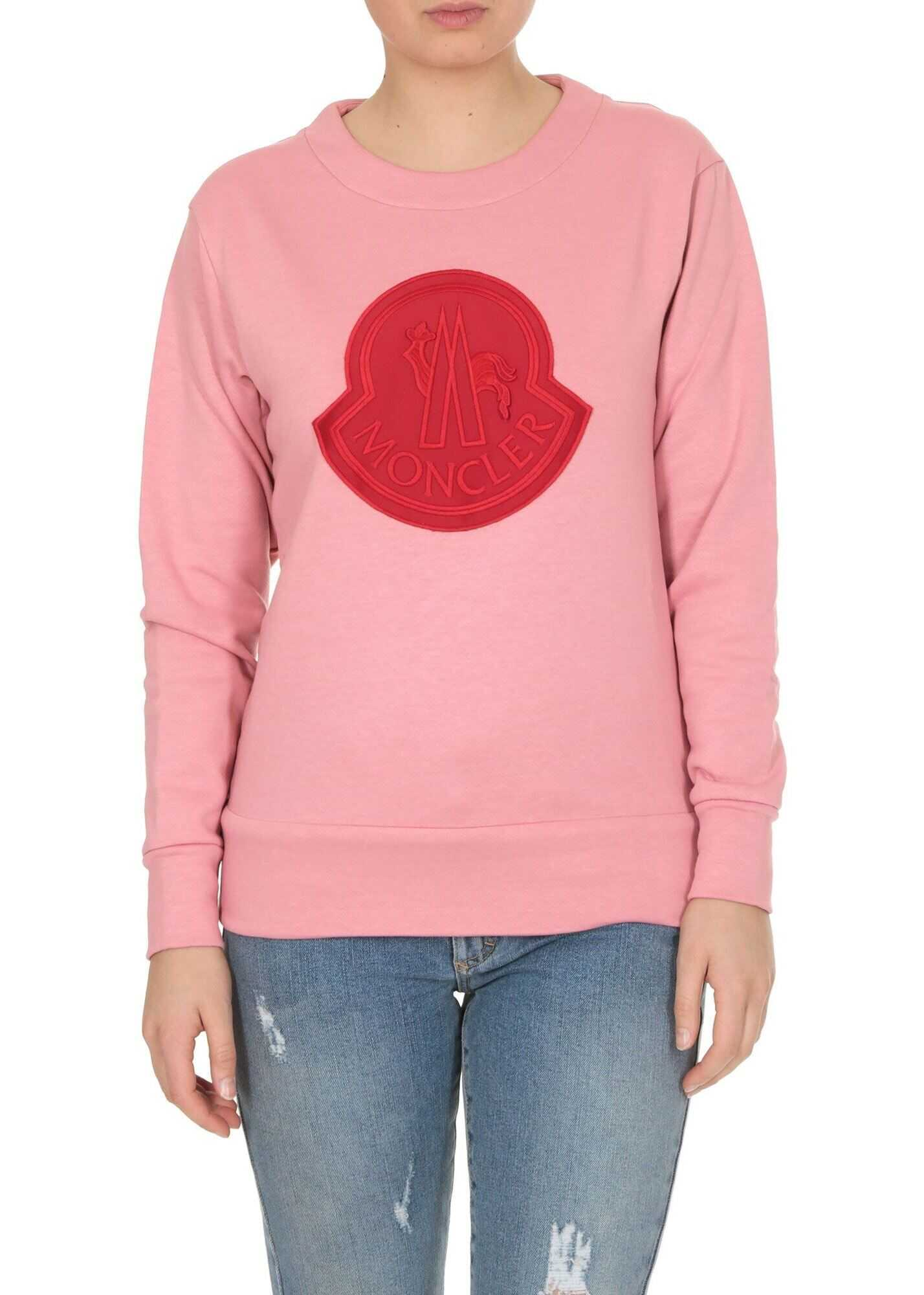 Moncler Red Maxi Patch Sweatshirt In Pink Pink