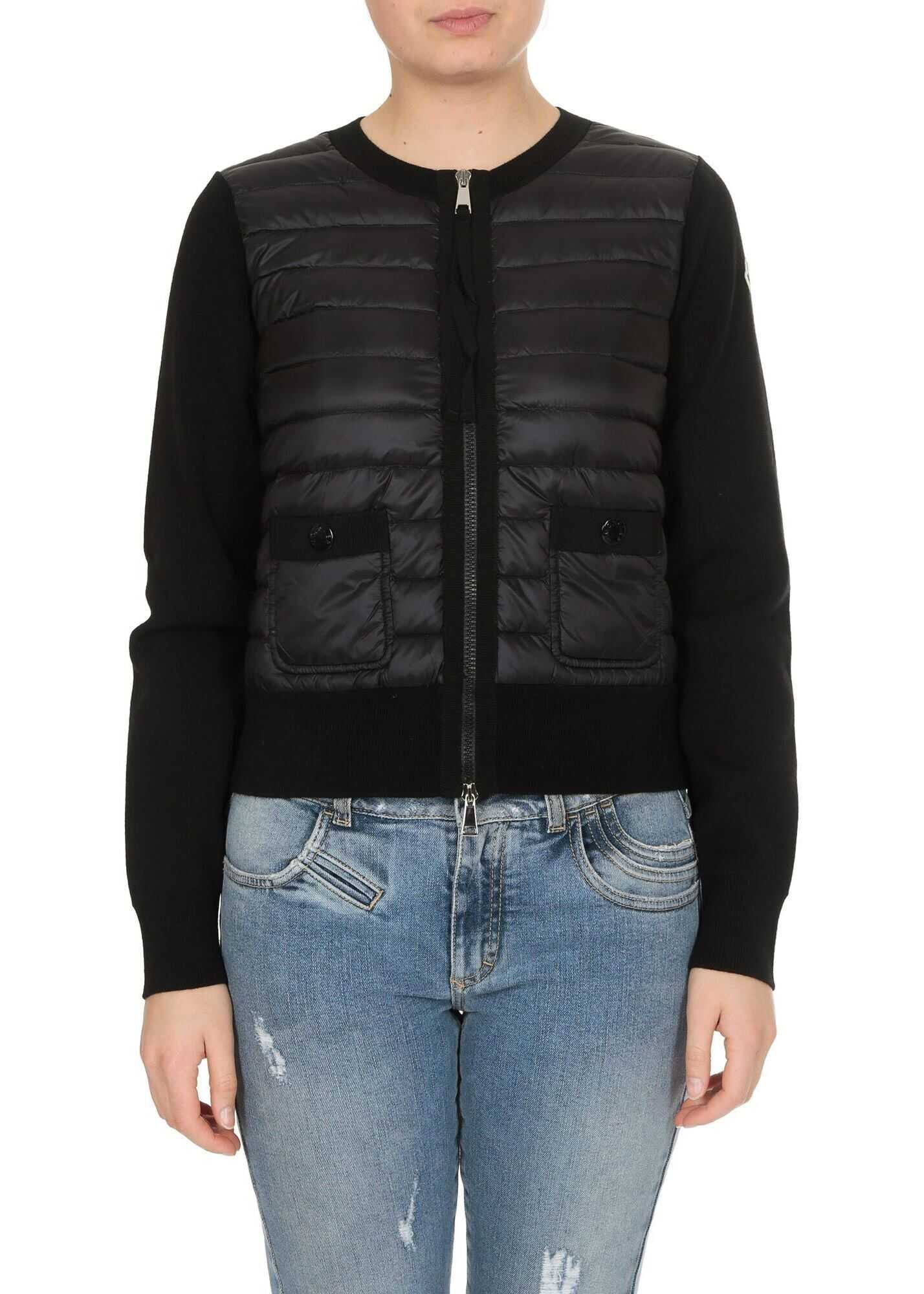 Moncler Cardigan In Black With Padded Insert Black