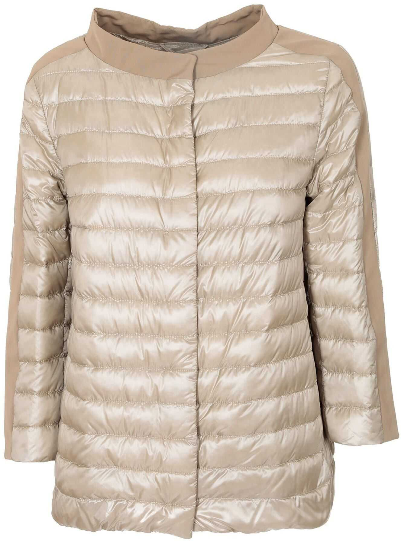 Herno Quilted Down Jacket In Beige Beige