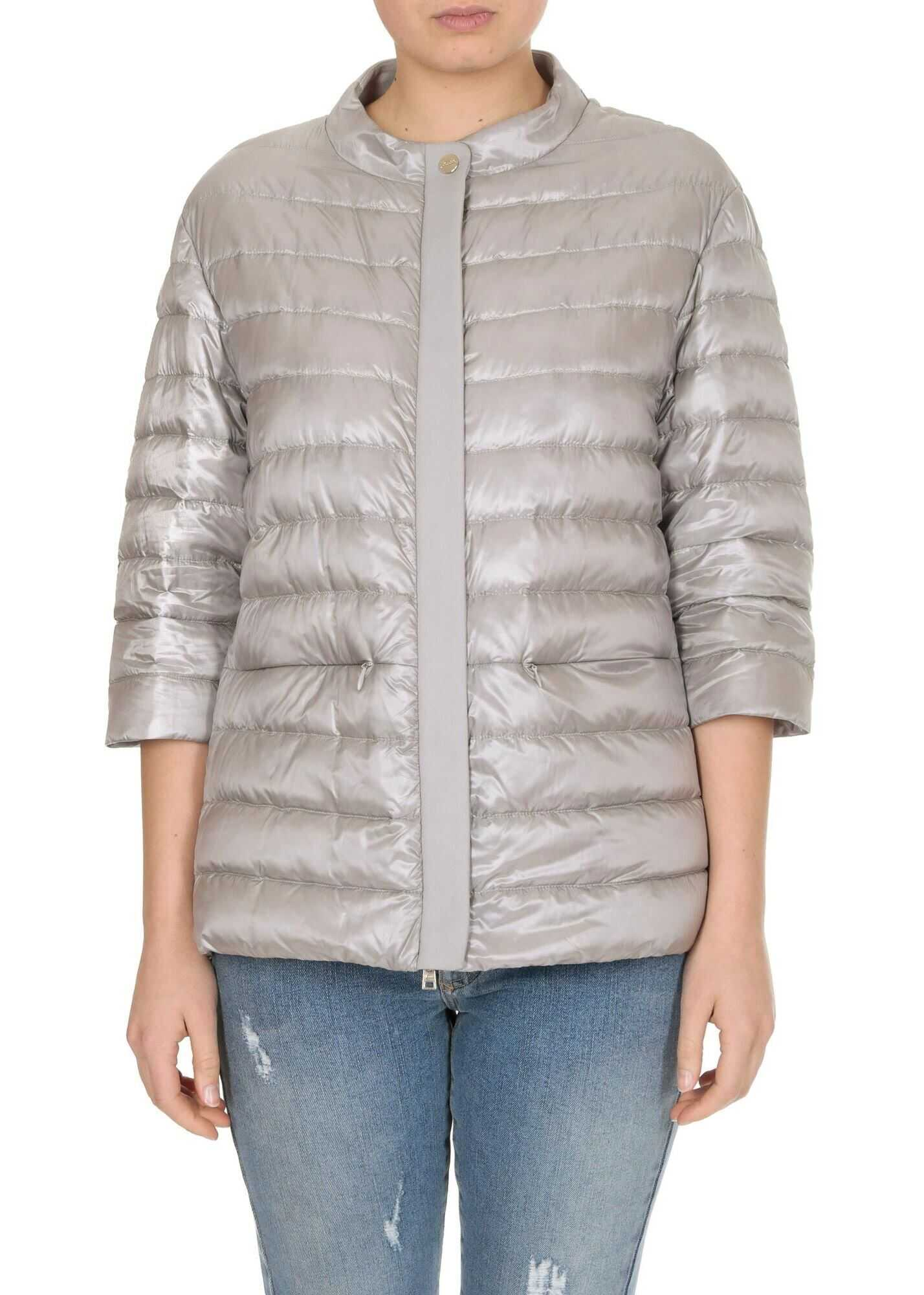 Herno Three-Quarter Sleeves Down Jacket In Gray Grey