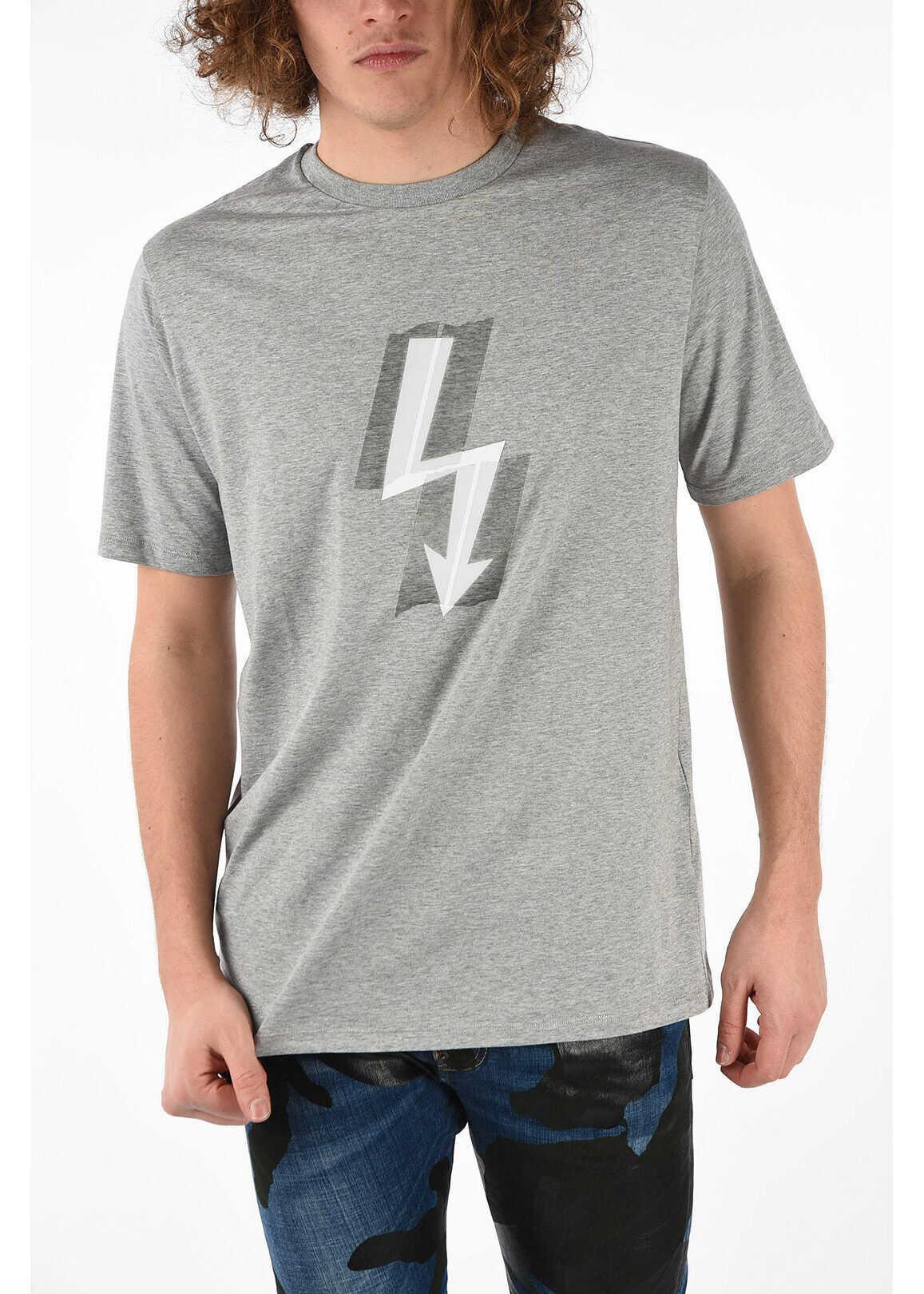 Neil Barrett Oversized THUNDERBOLT Crewneck T-shirt GRAY