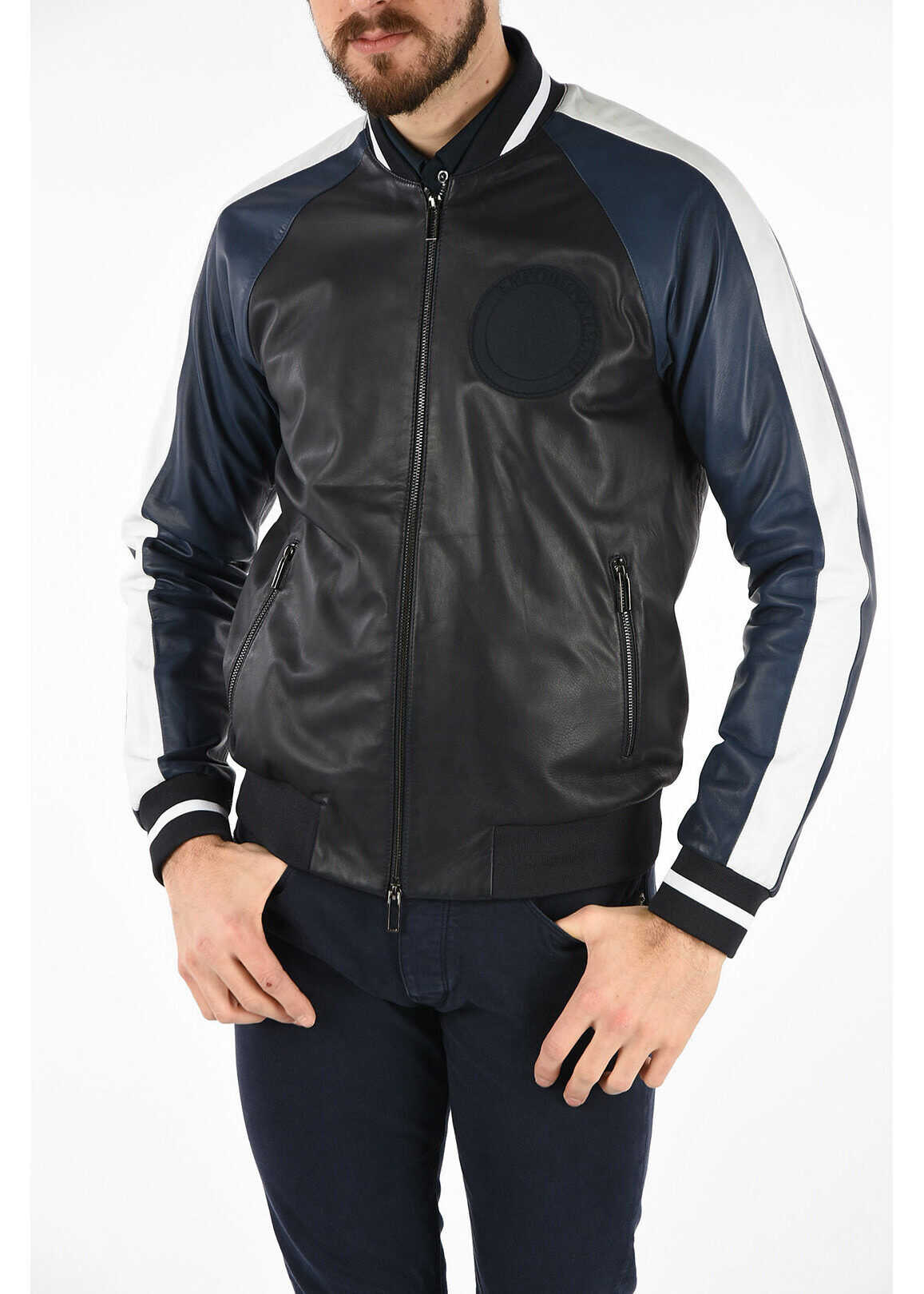 Armani EMPORIO Leather Bomber BLUE