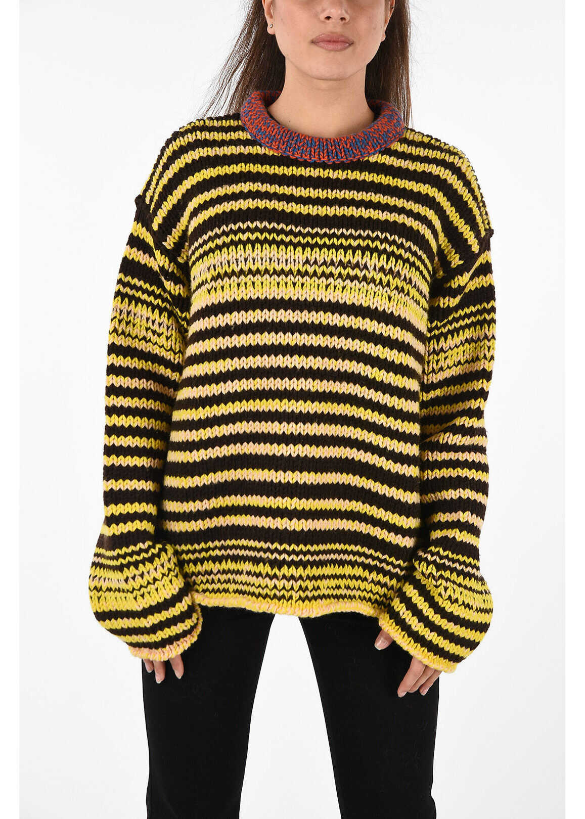 Calvin Klein 205W39NYC cable knit wool crew-neck sweater MULTICOLOR