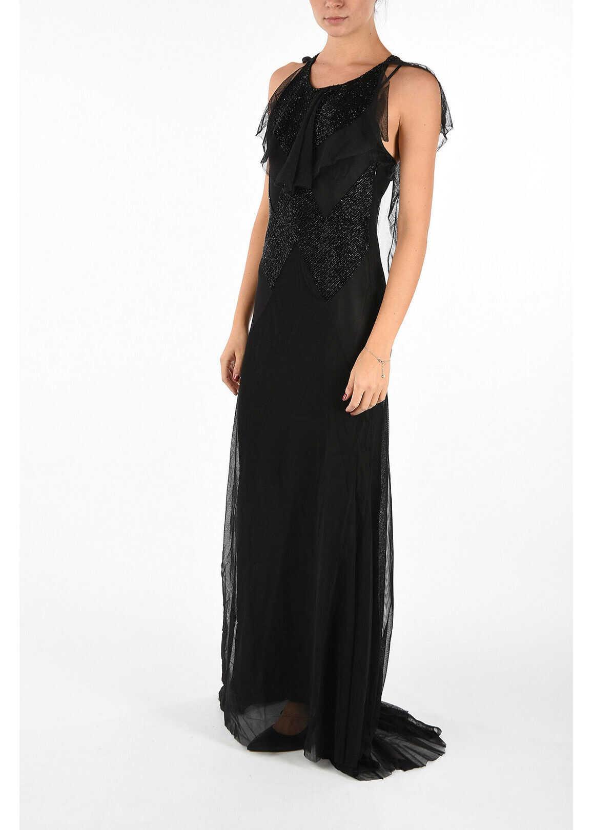 Maison Margiela Tulle & Viscose Dress With Beads Black image0