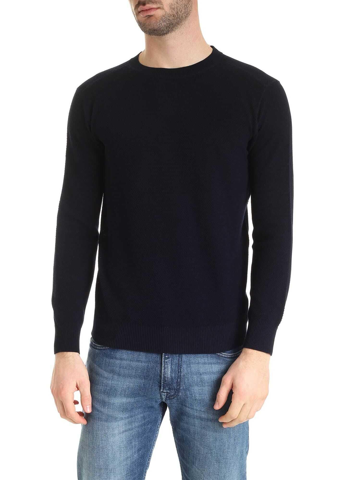 Kangra Cashmere Cotton Pullover In Dark Blue Blue