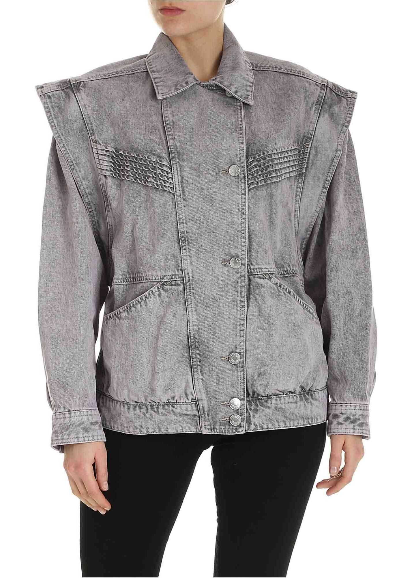 Isabel Marant Harmon Denim Jacket In Lavender Color Purple