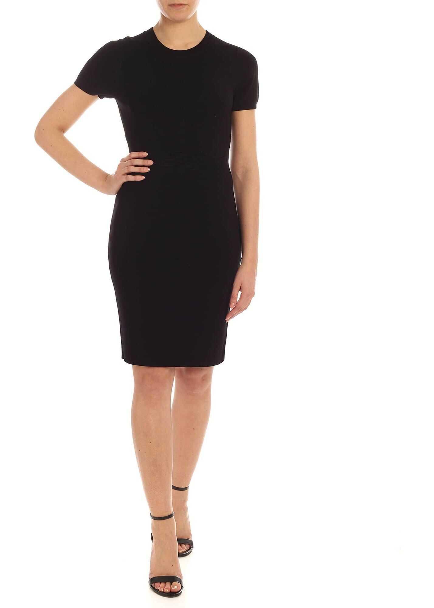 Michael Kors Knitted Pencil Dress In Black Black