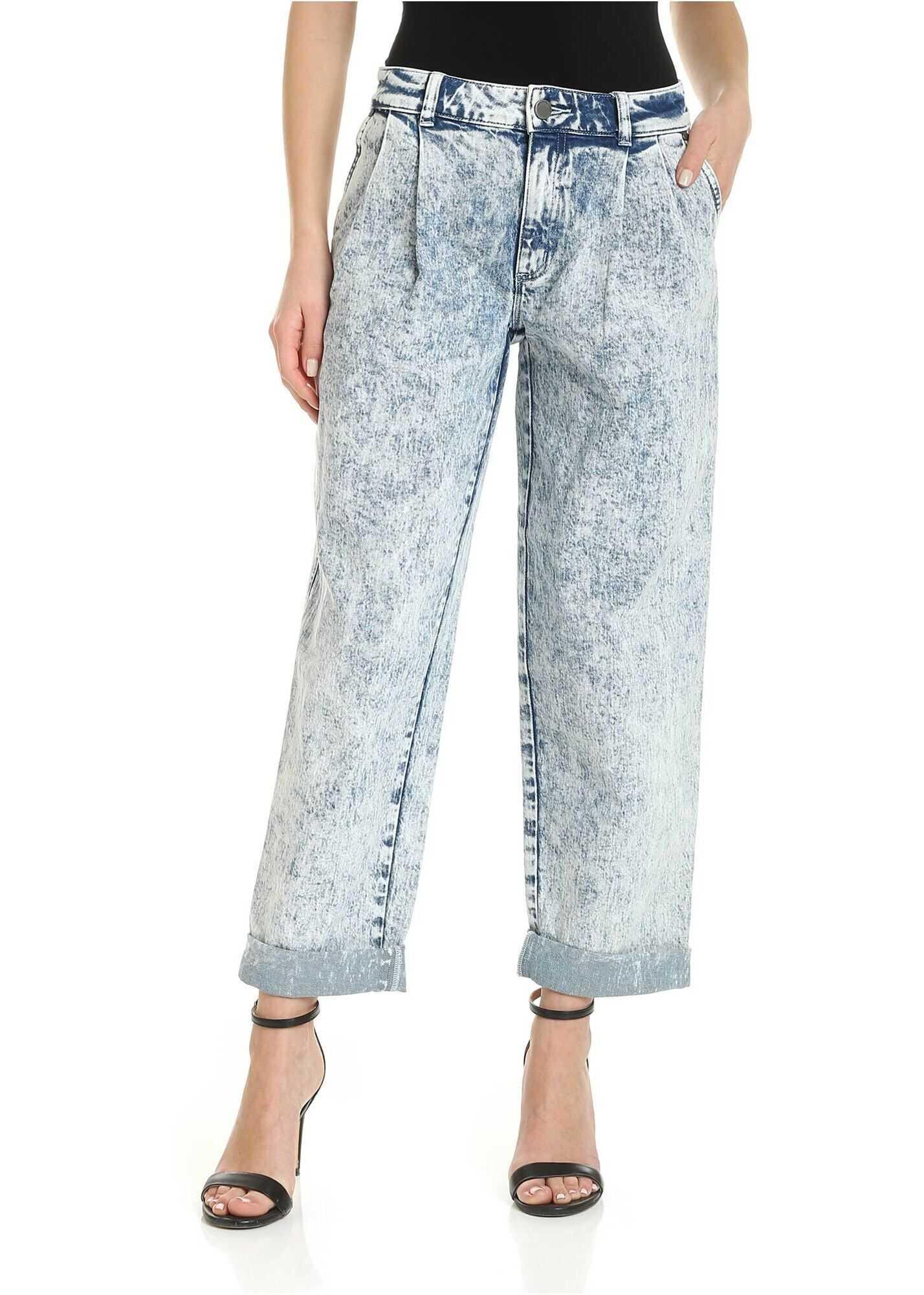 Michael Kors Bleached Effect Wide Leg Jeans In Blue Blue