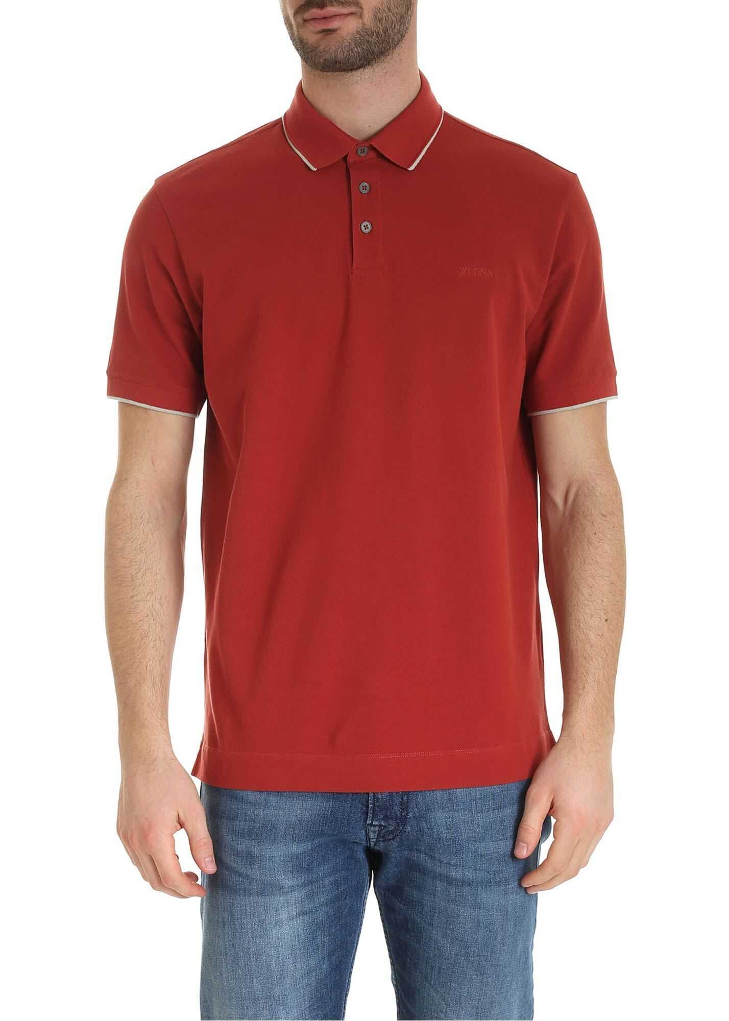 Z Zegna Tone-On-Tone Logo Polo Shirt In Brick Red Red imagine