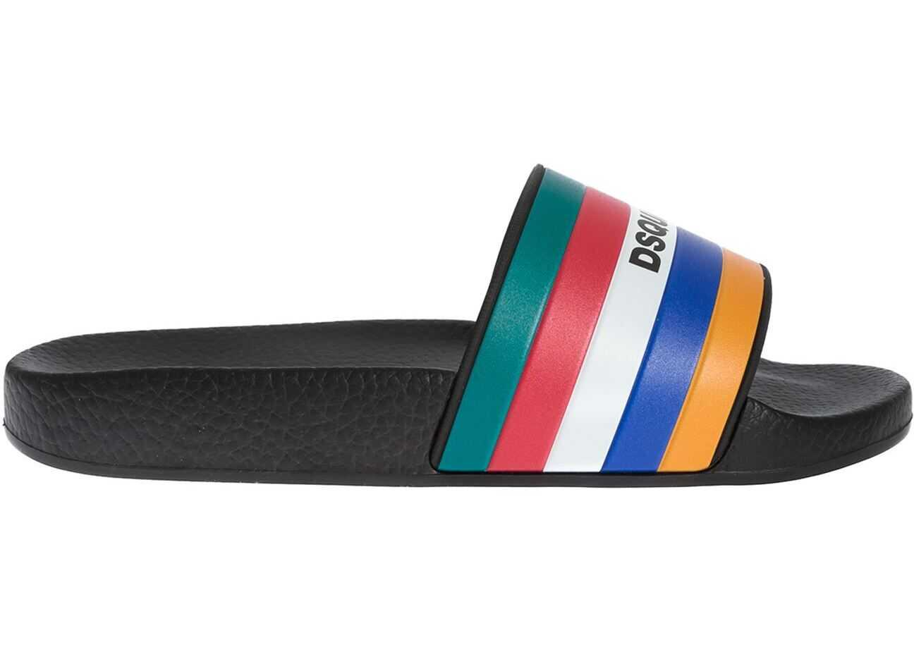 DSQUARED2 Slides In Black With Multicolor Band Black