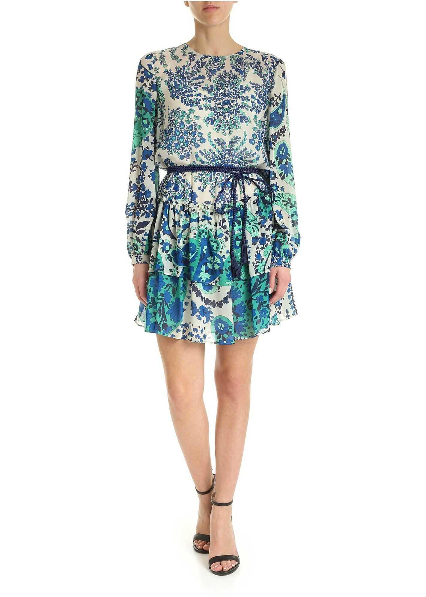 Twin-set Simona Barbieri Printed Viscose Dress In Shades Of Blue Blue