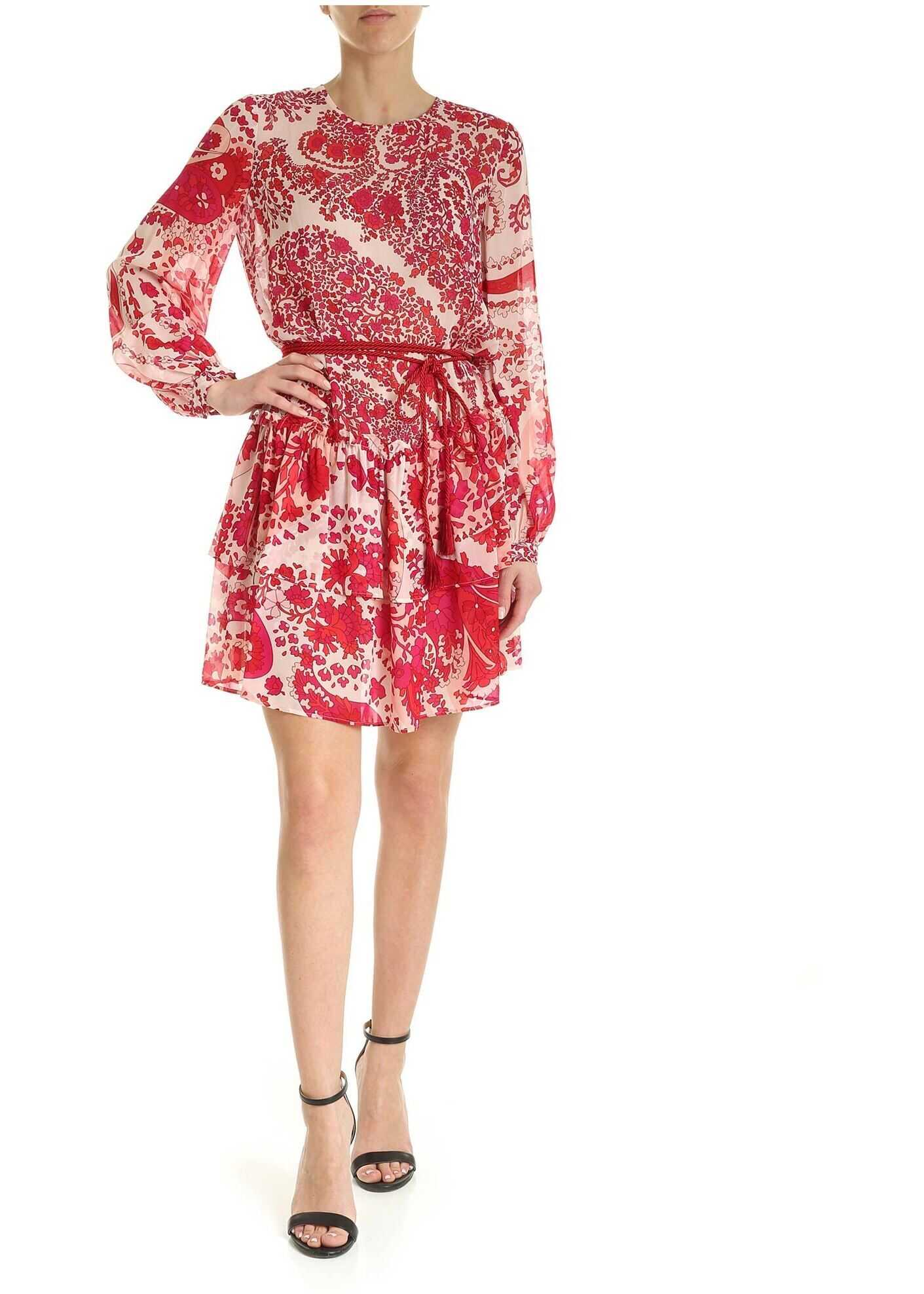 Twin-set Simona Barbieri Printed Viscose Dress In Shades Of Red Red