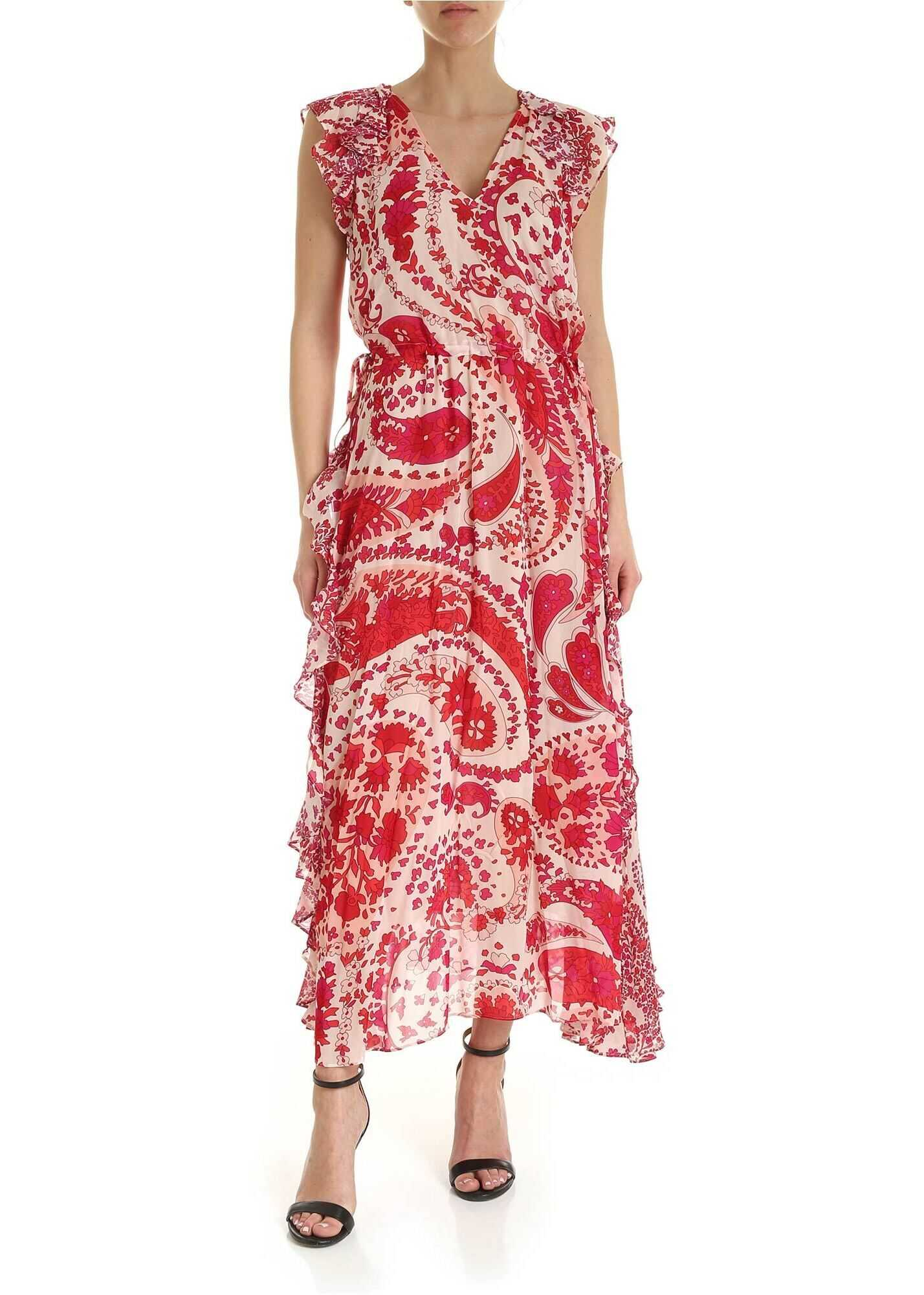 Twin-set Simona Barbieri Floral Print Viscose Dress In Red Color Red