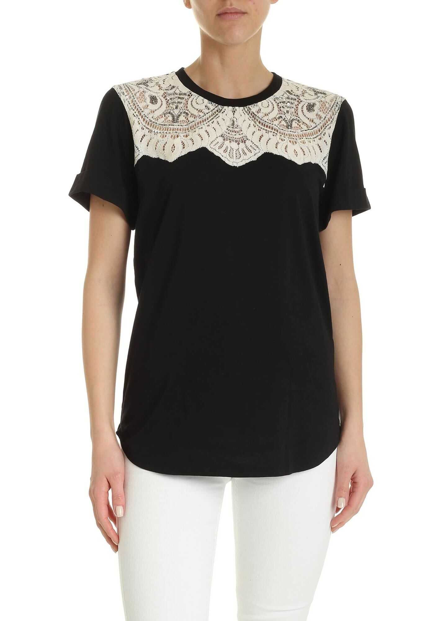 Twin-set Simona Barbieri Lace And Embroidery T-Shirt In Black Black