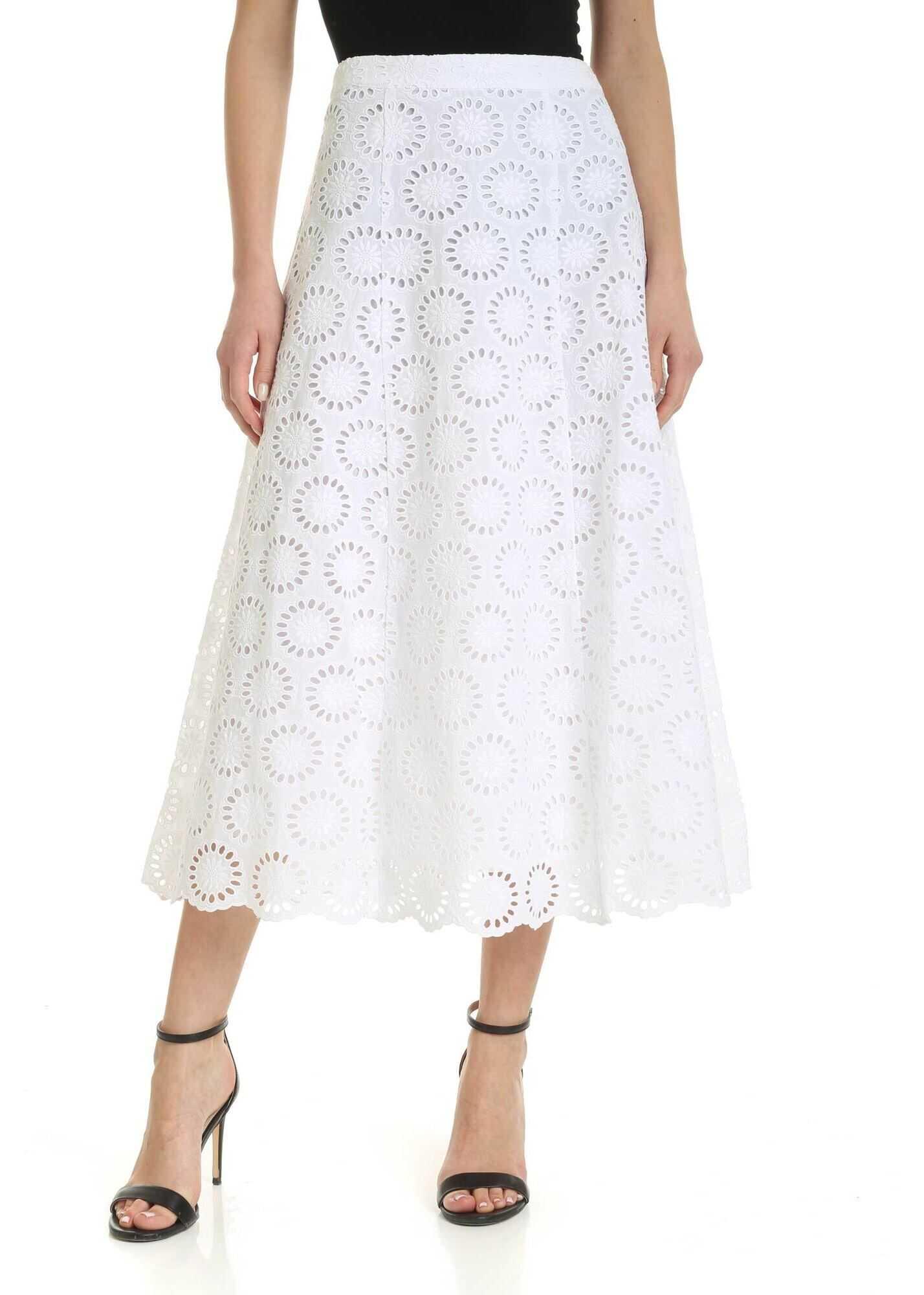 Michael Kors Sangallo Midi Skirt In White White