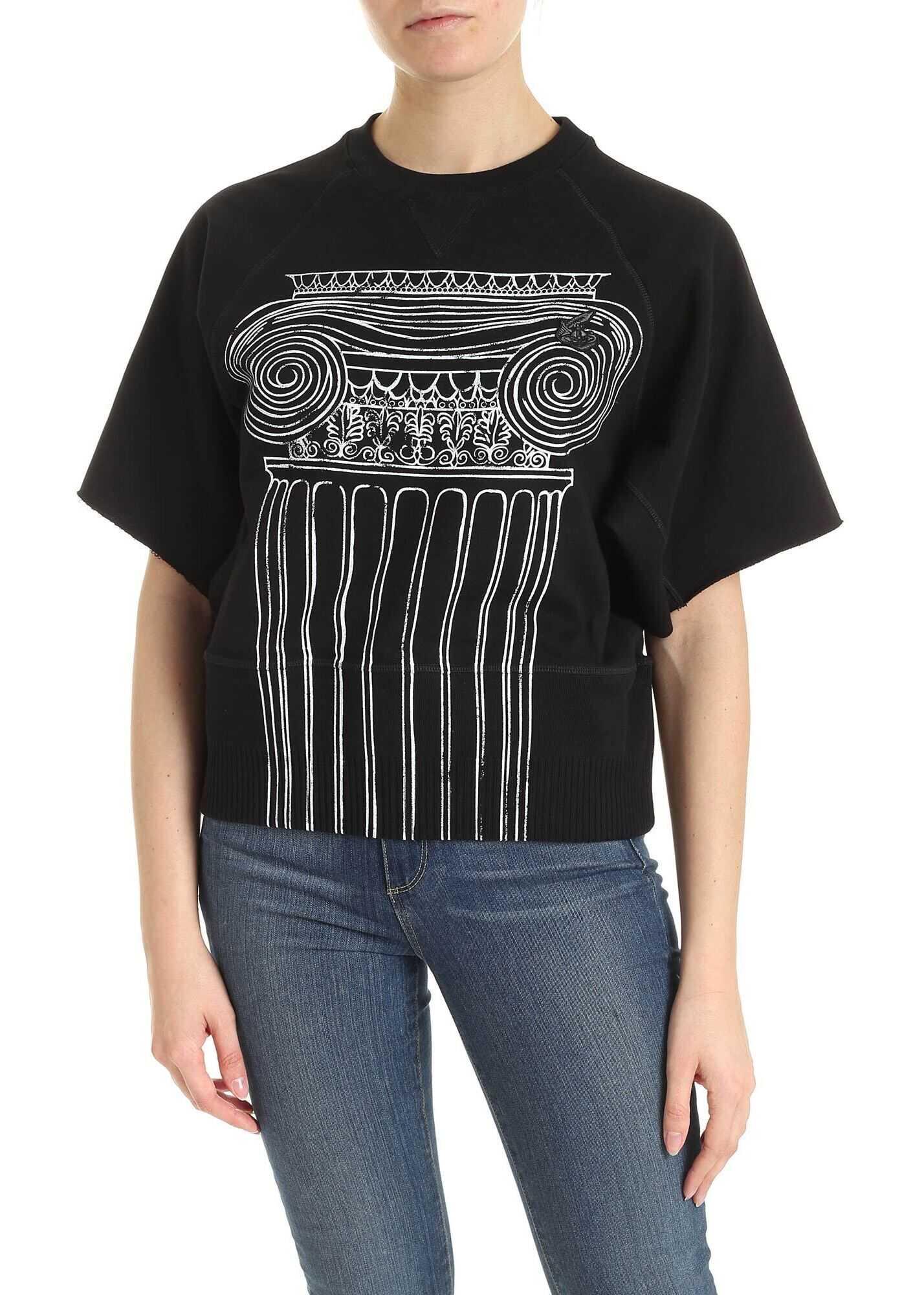 Vivienne Westwood Anglomania Print Short Sleeve Sweatshirt In Black Black