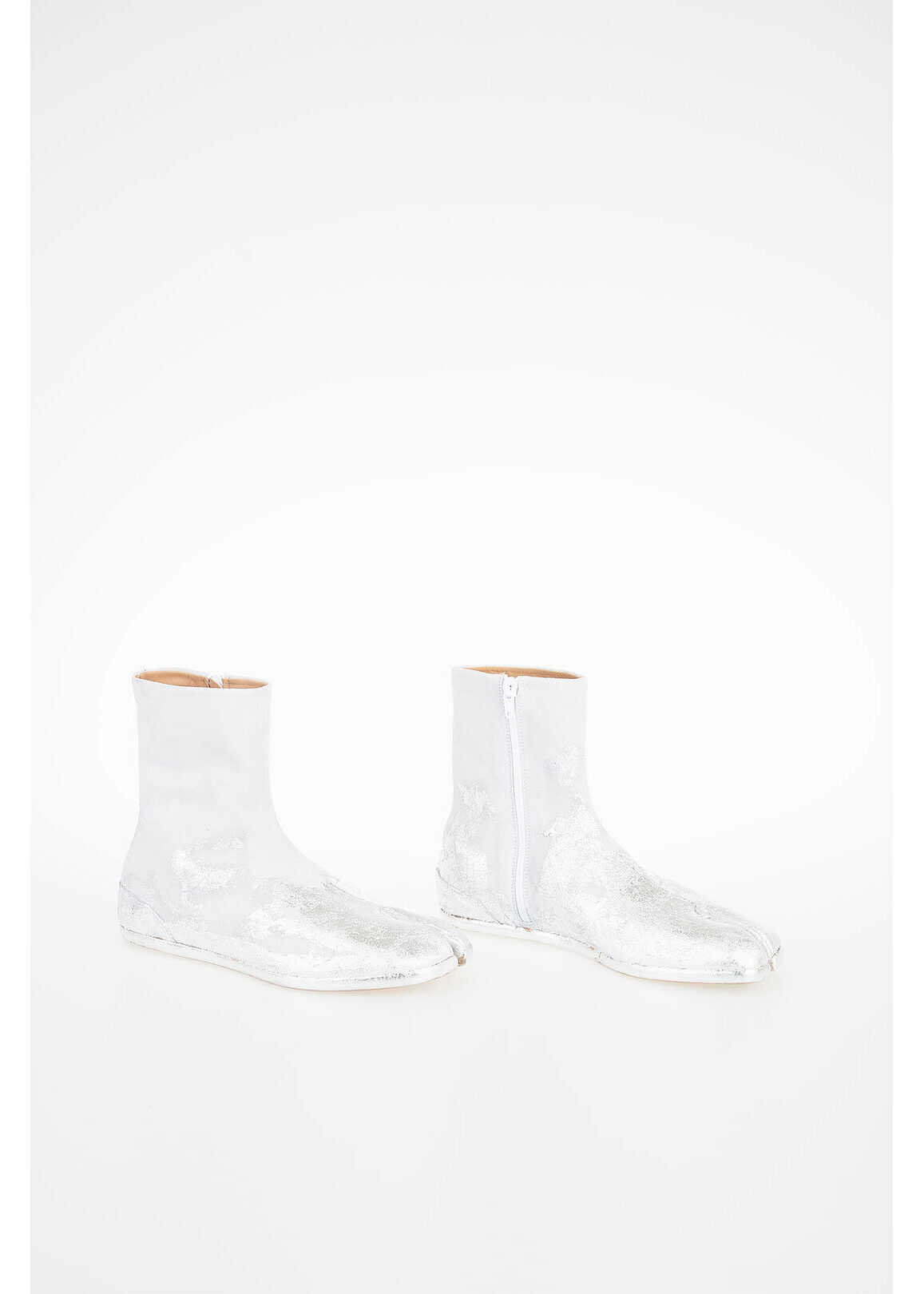 Maison Margiela MM22 Leather Vintage Effect Ankle Boot SILVER