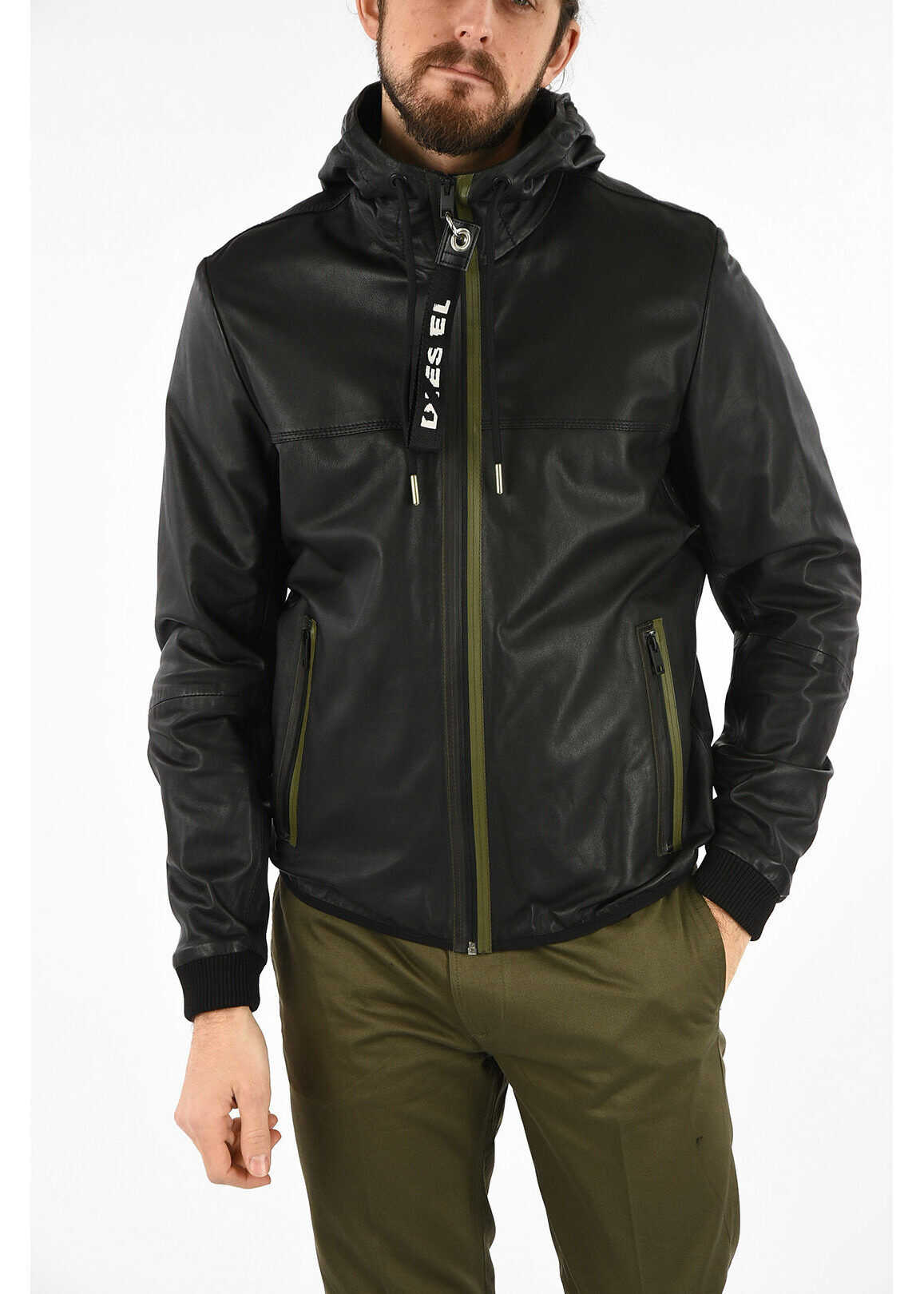 Diesel Leather Hooded L-TECH Jacket BLACK