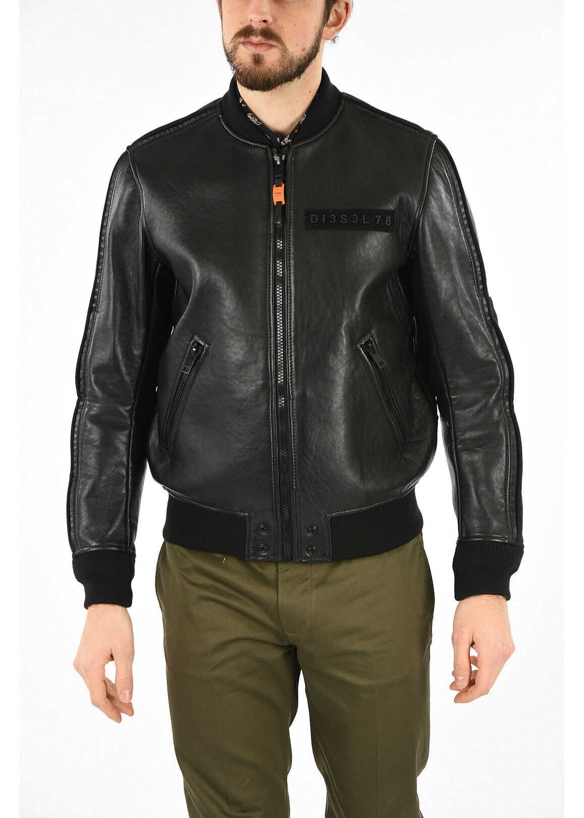 Diesel Leather L-YUTAKIS Jacket BLACK imagine