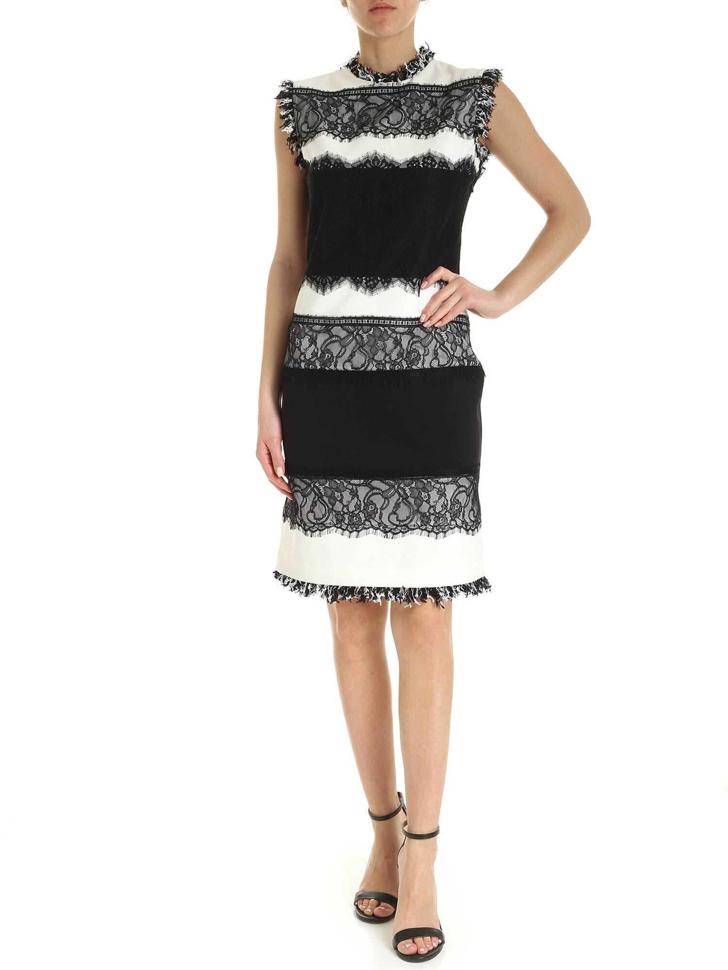 Twin-set Simona Barbieri Lace Trim Pencil Dress In Black And White Black