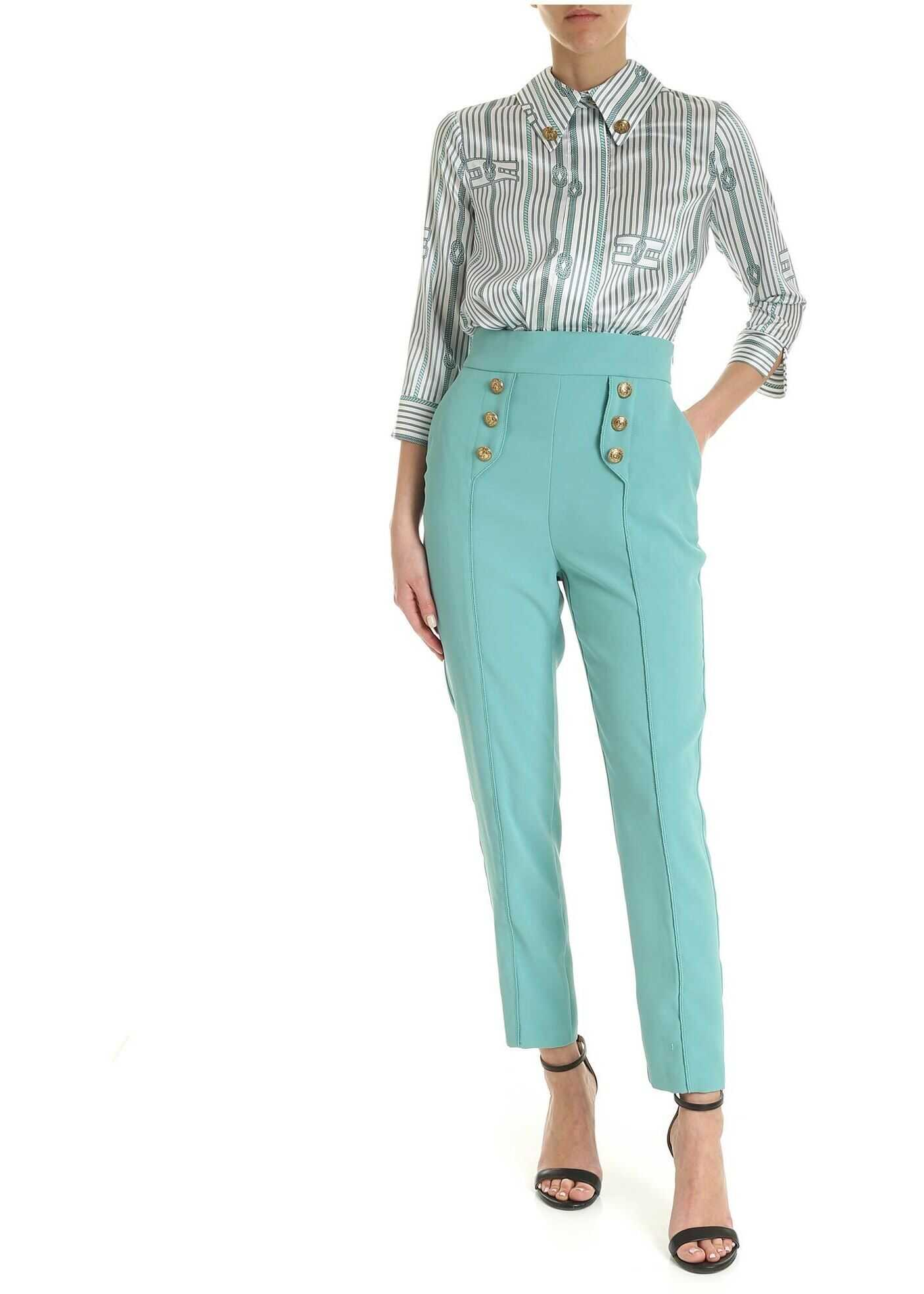 Satin And Crepe Jumpsuit In White And Light Blue thumbnail